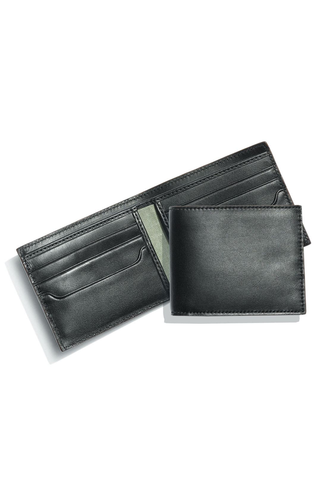 Leather Billfold,                             Main thumbnail 1, color,                             001
