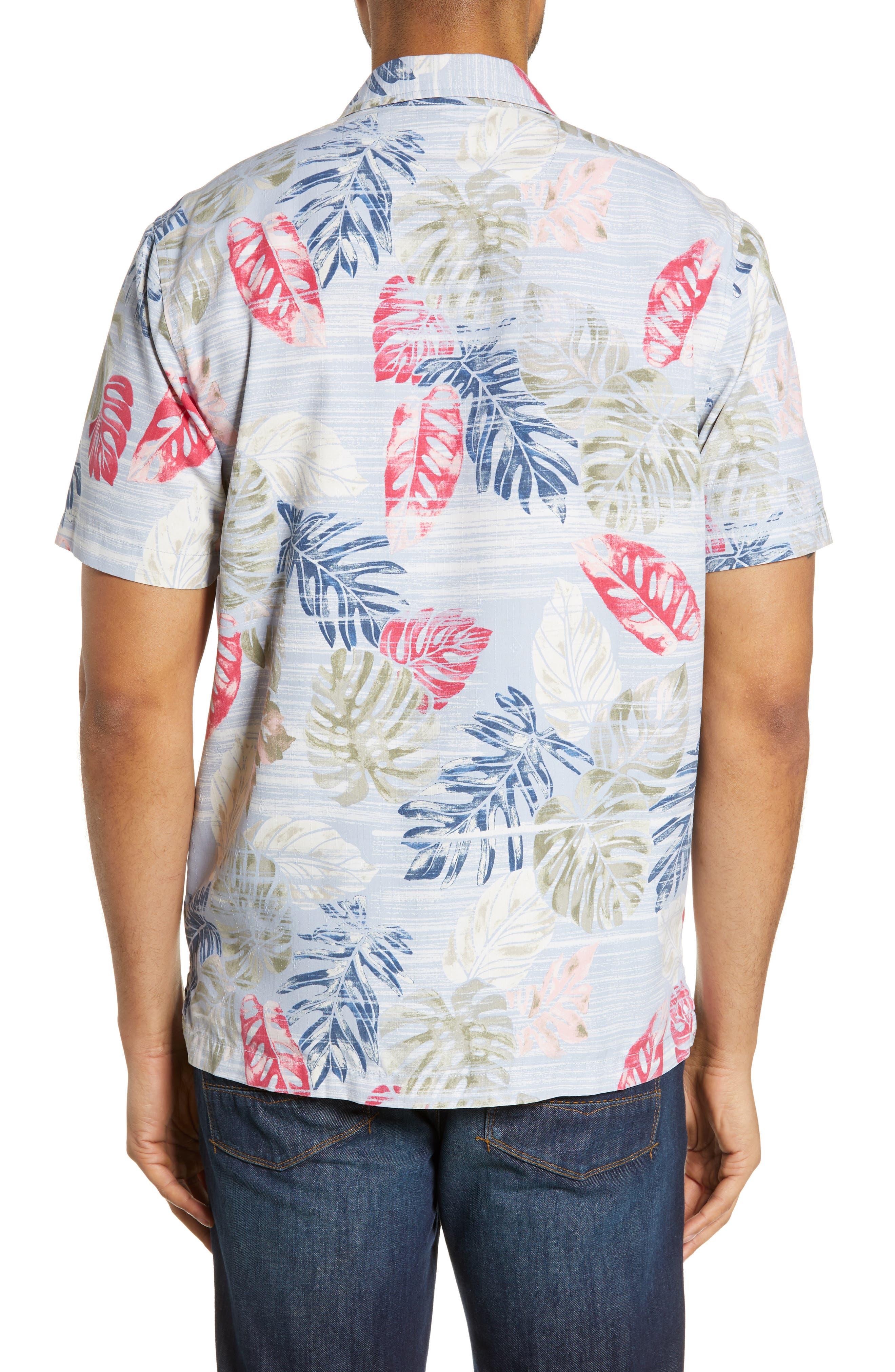 TOMMY BAHAMA,                             Botanica Sketch Silk Blend Shirt,                             Alternate thumbnail 3, color,                             CANYON SKY