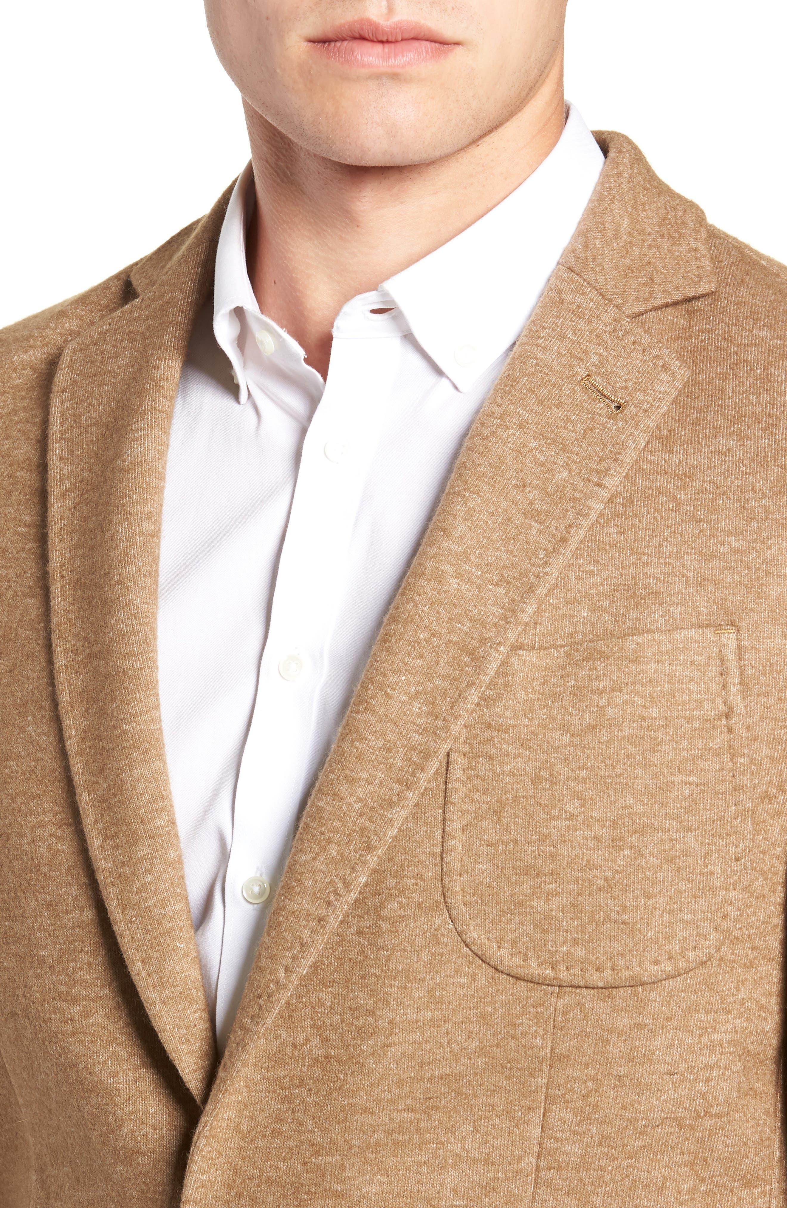 Regular Fit Knit Wool Blend Sport Coat,                             Alternate thumbnail 4, color,                             TAN