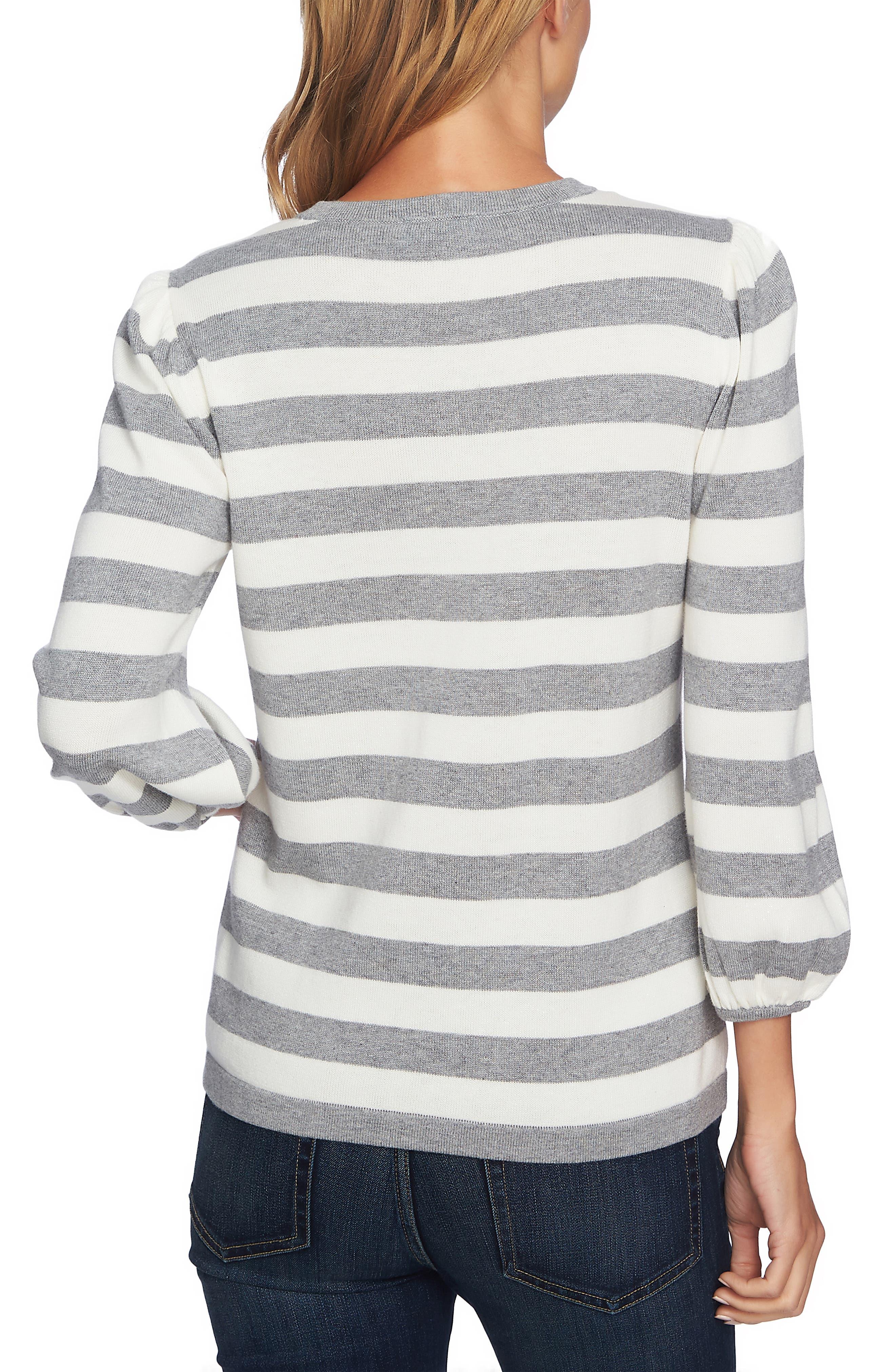 Stripe Blouson Sleeve Sweater,                             Alternate thumbnail 2, color,                             LIGHT HEATHER GREY