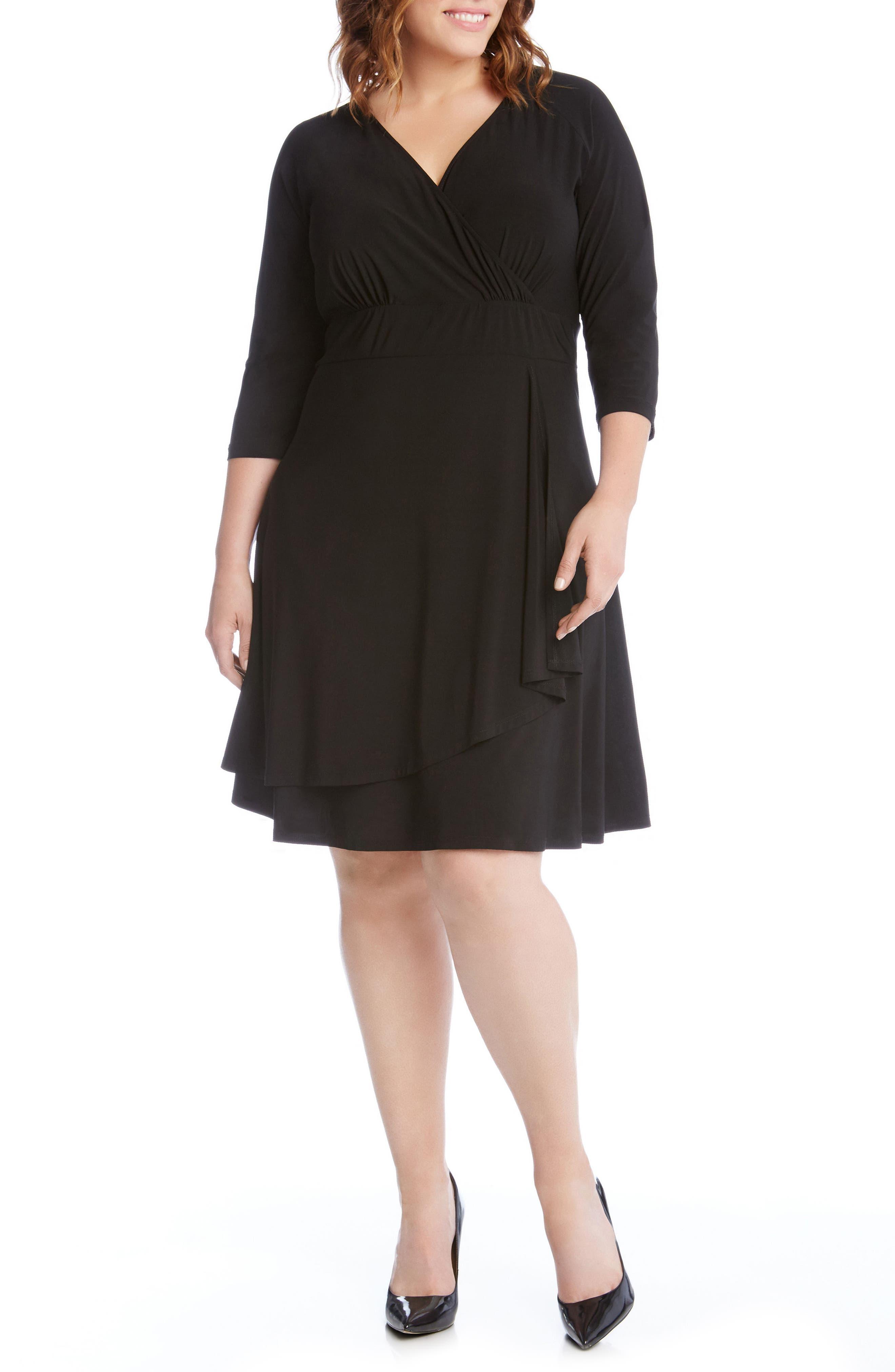 Jersey Cascade Faux Wrap Dress,                             Main thumbnail 1, color,                             001