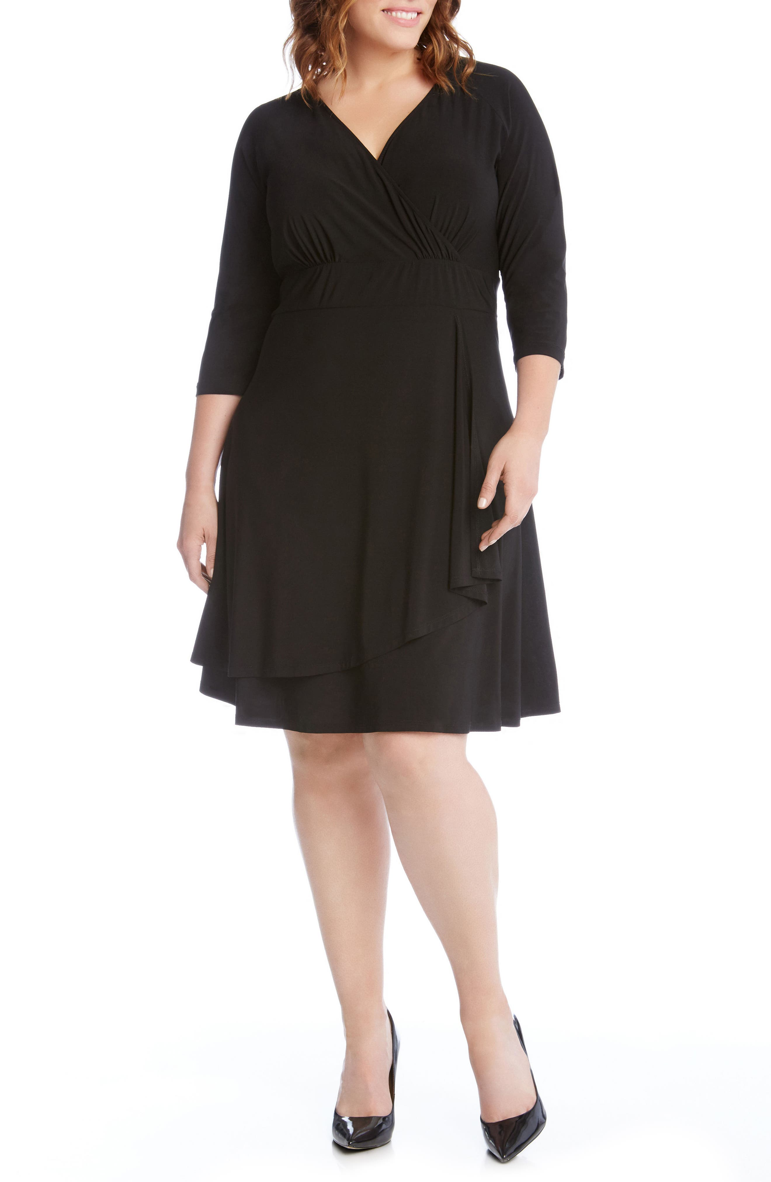 Jersey Cascade Faux Wrap Dress,                         Main,                         color, 001