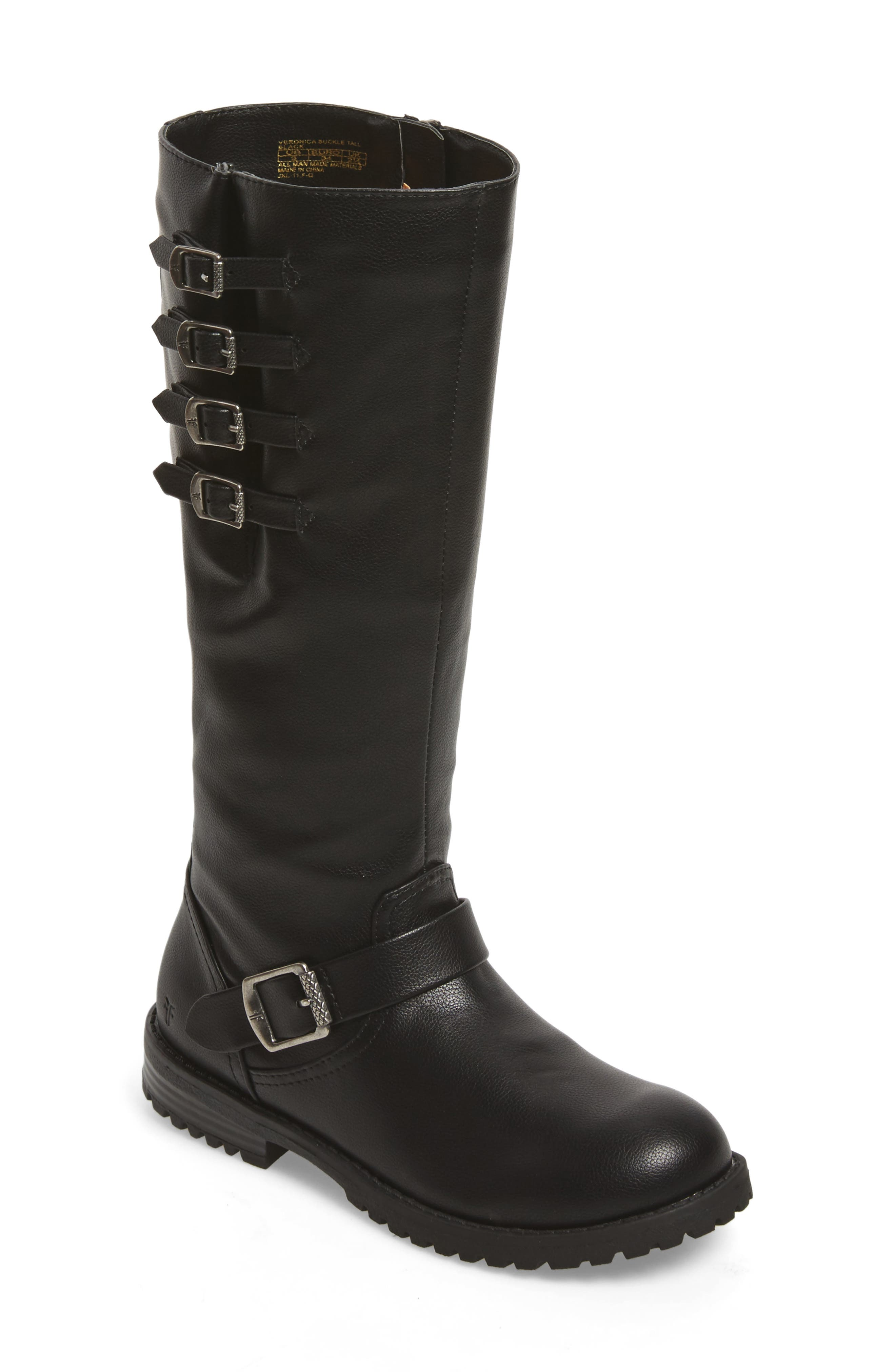 Veronica Tall Buckle Strap Boot,                         Main,                         color, BLACK