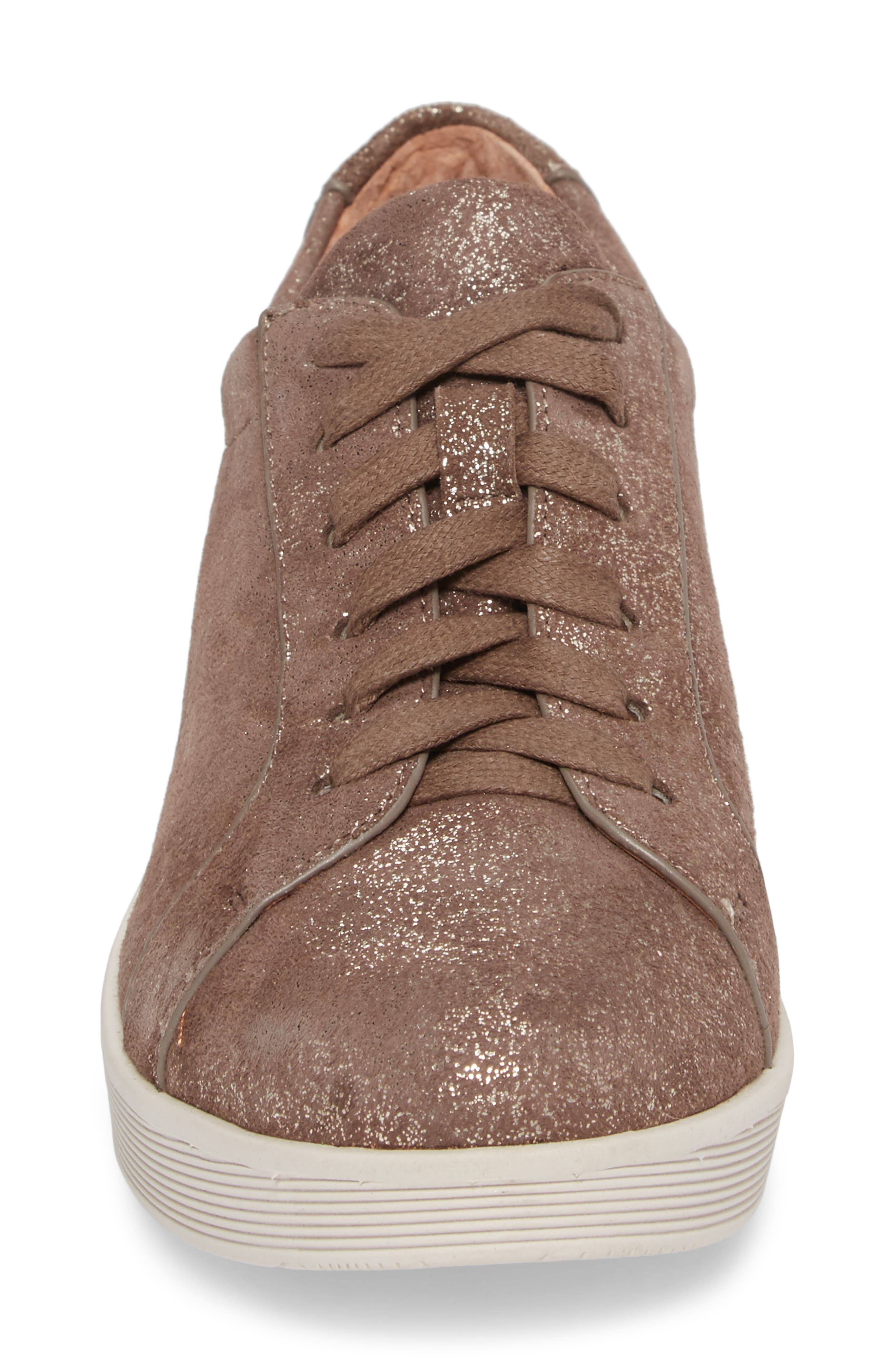 by Kenneth Cole Haddie Low Platform Sneaker,                             Alternate thumbnail 4, color,                             COCOA METALLIC LEATHER