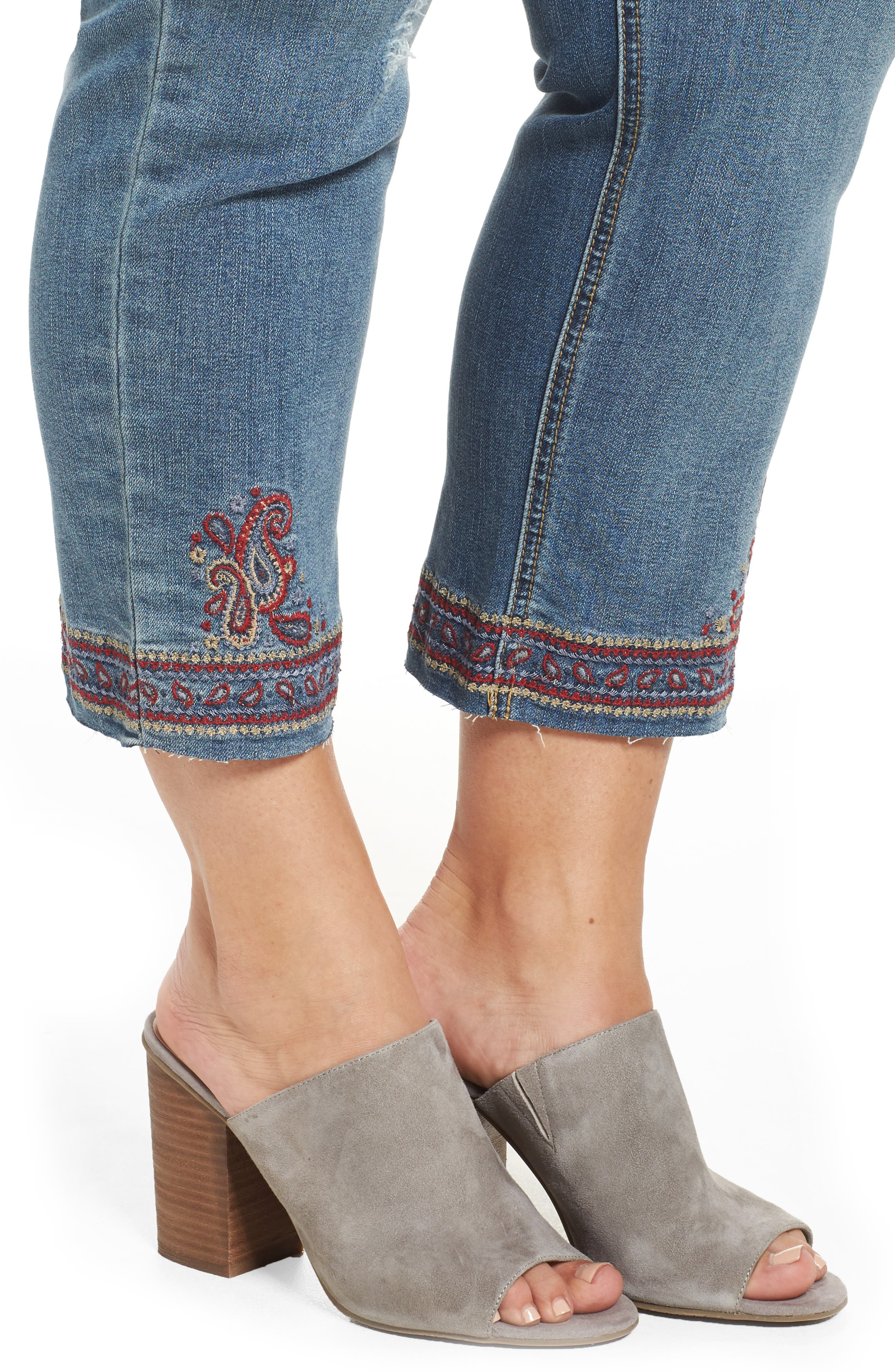 Embroidered Slim Straight Ankle Jeans,                             Alternate thumbnail 4, color,