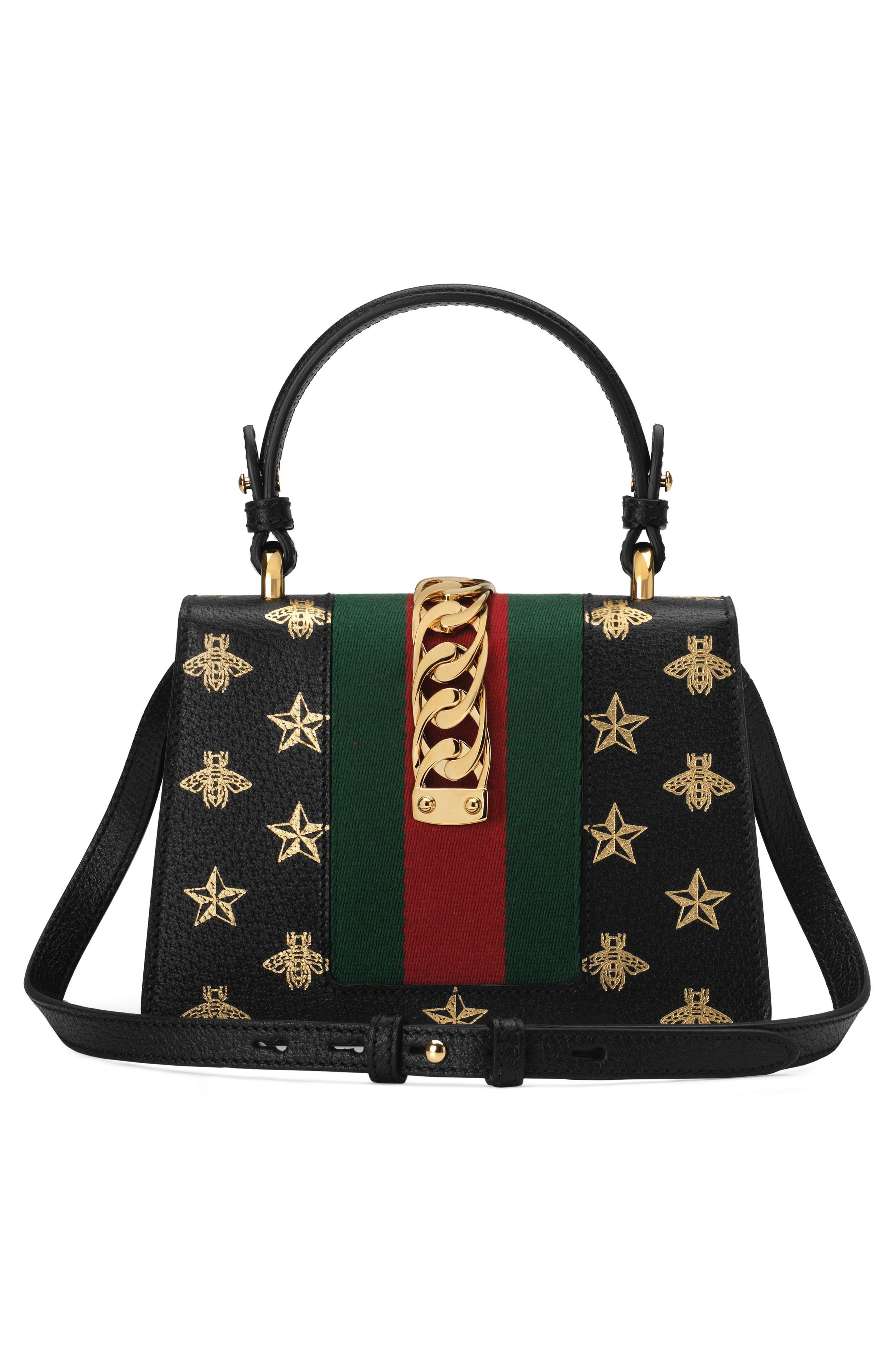 Small Sylvie Top Handle Leather Shoulder Bag,                             Alternate thumbnail 2, color,                             NERO/ ORO/ VERT/ RED