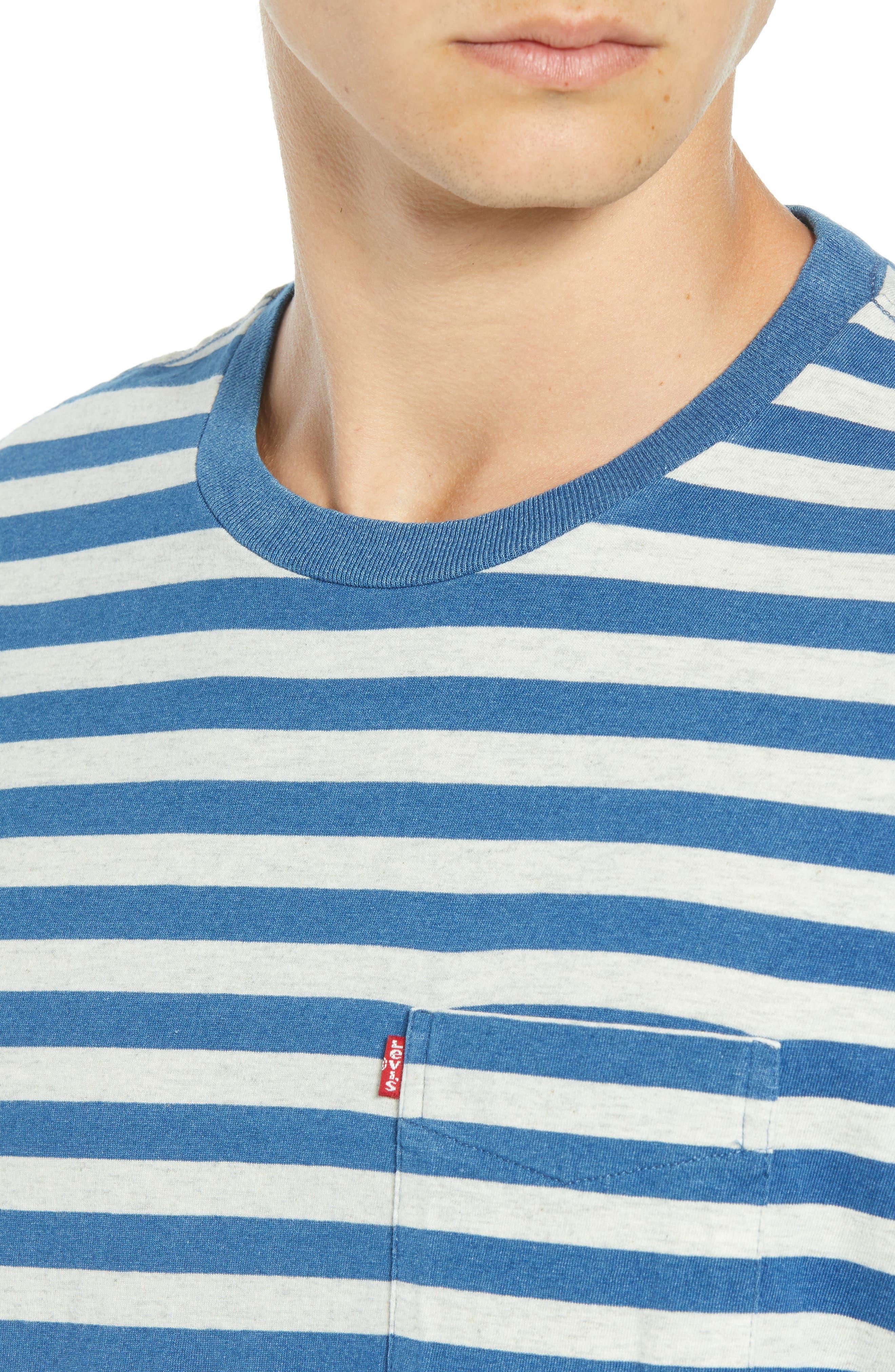 Sunset Stripe Pocket T-Shirt,                             Alternate thumbnail 4, color,                             CREAM HALF INCH STRIPE