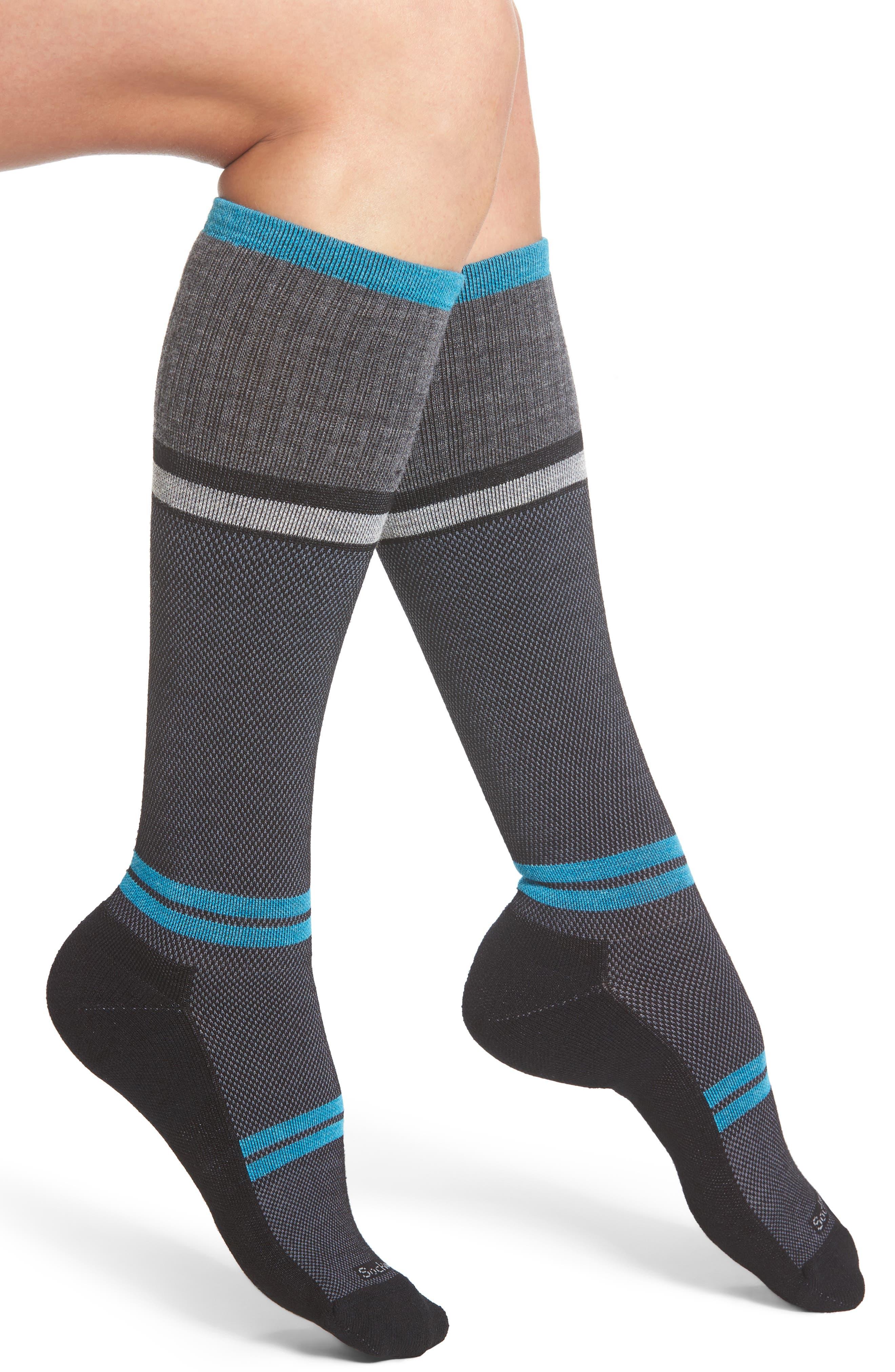 'Sport Flirt' Compression Knee Socks,                             Main thumbnail 1, color,                             001
