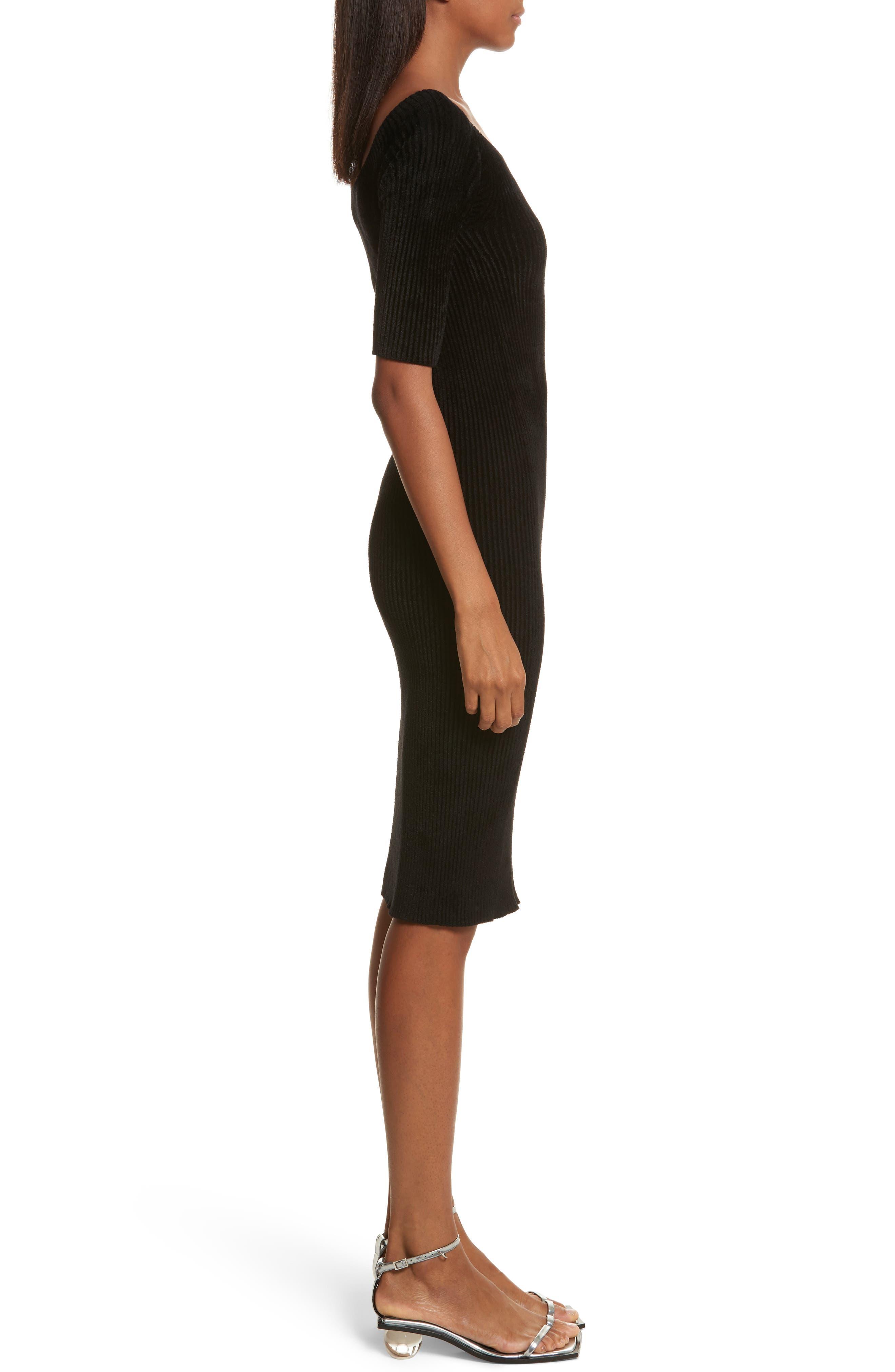 Ribbed Velveteen Body-Con Dress,                             Alternate thumbnail 3, color,                             001