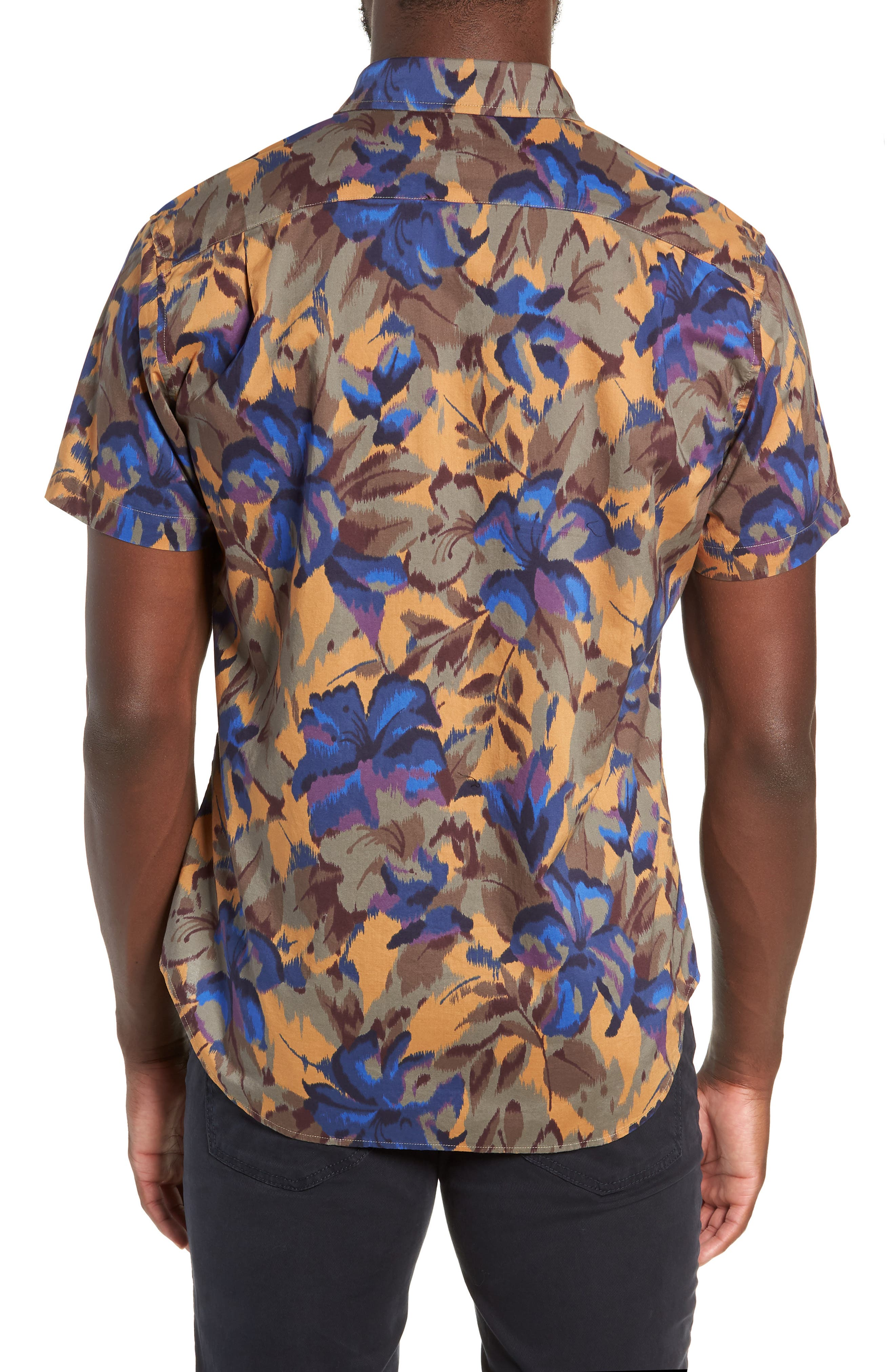 Riviera Slim Fit Sport Shirt,                             Alternate thumbnail 3, color,                             FADED FLORAL - AMBER TOPAZ