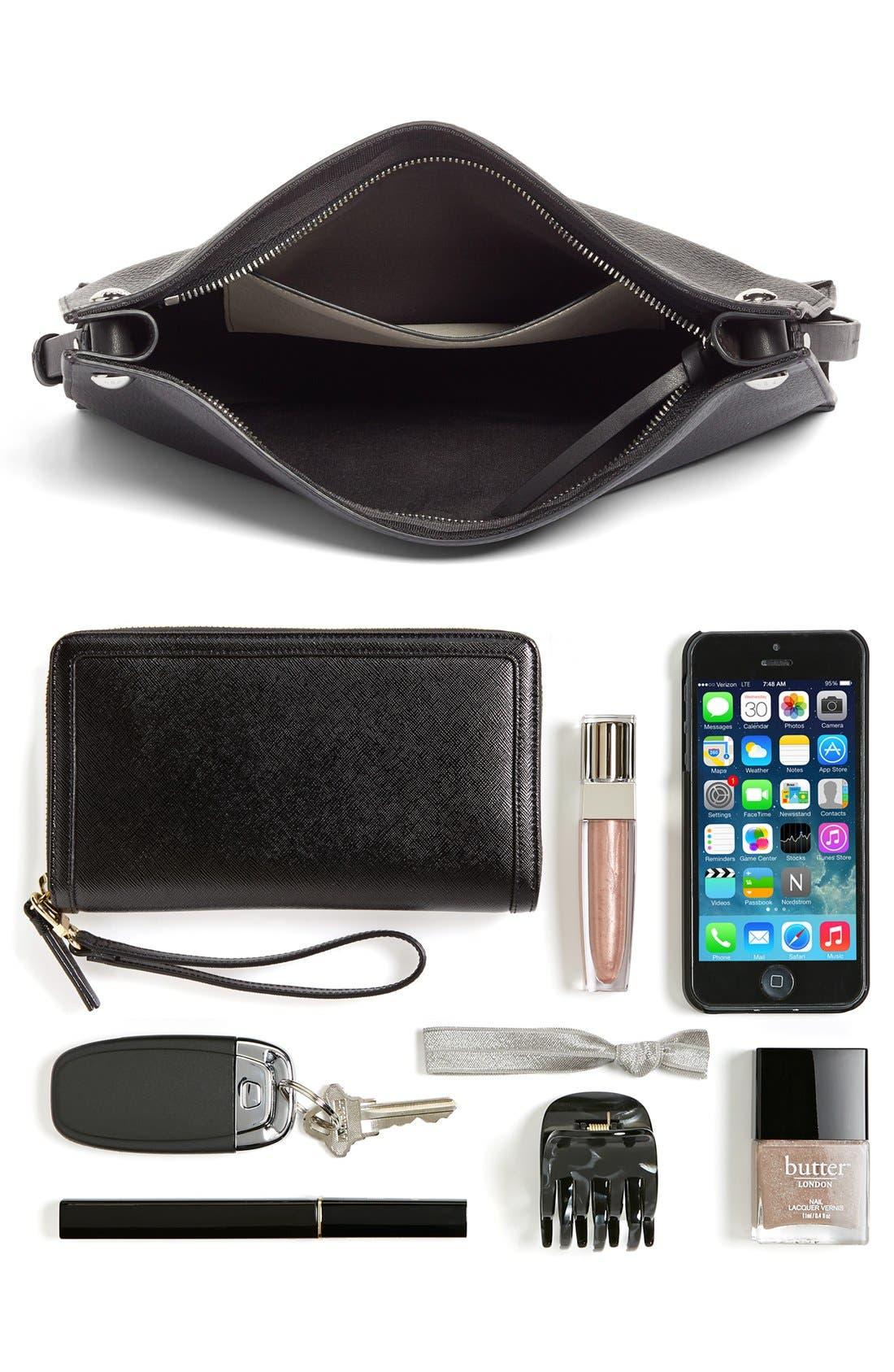 Compass Leather Crossbody Bag,                             Alternate thumbnail 3, color,                             BLACK