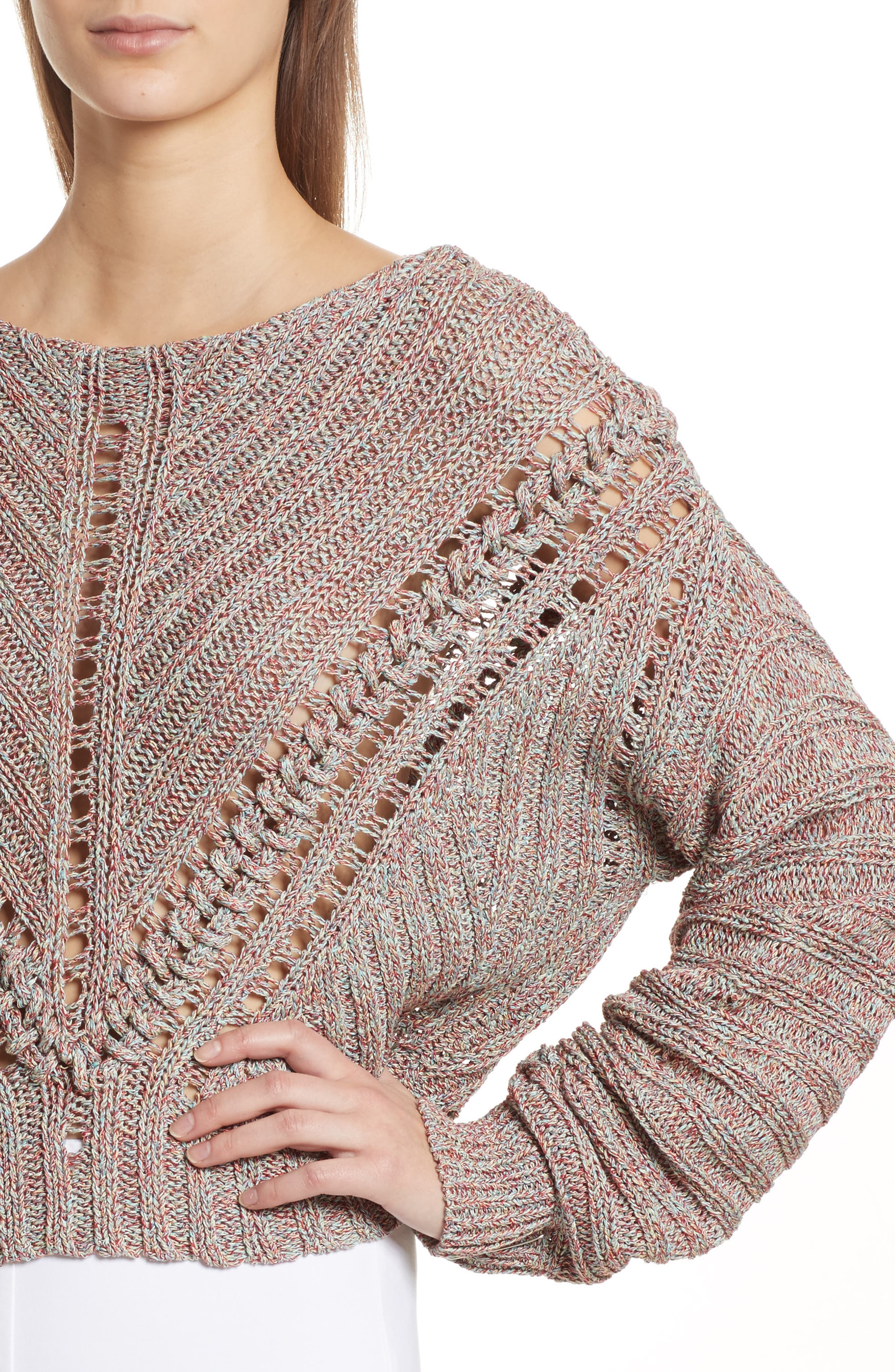 Roman Pointelle Ribbed Sweater,                             Alternate thumbnail 4, color,                             650