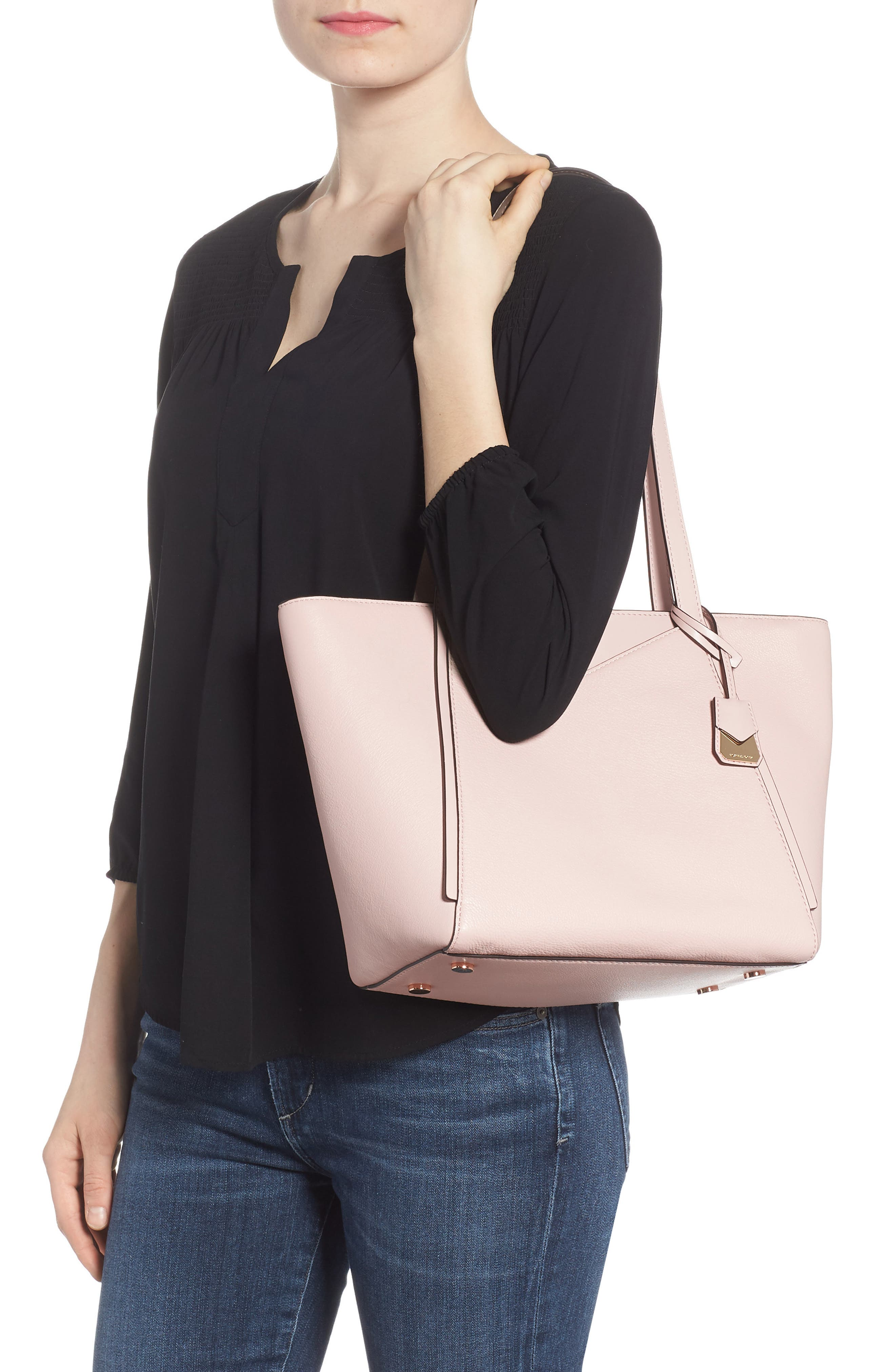 Small Whitney Leather Tote,                             Alternate thumbnail 8, color,