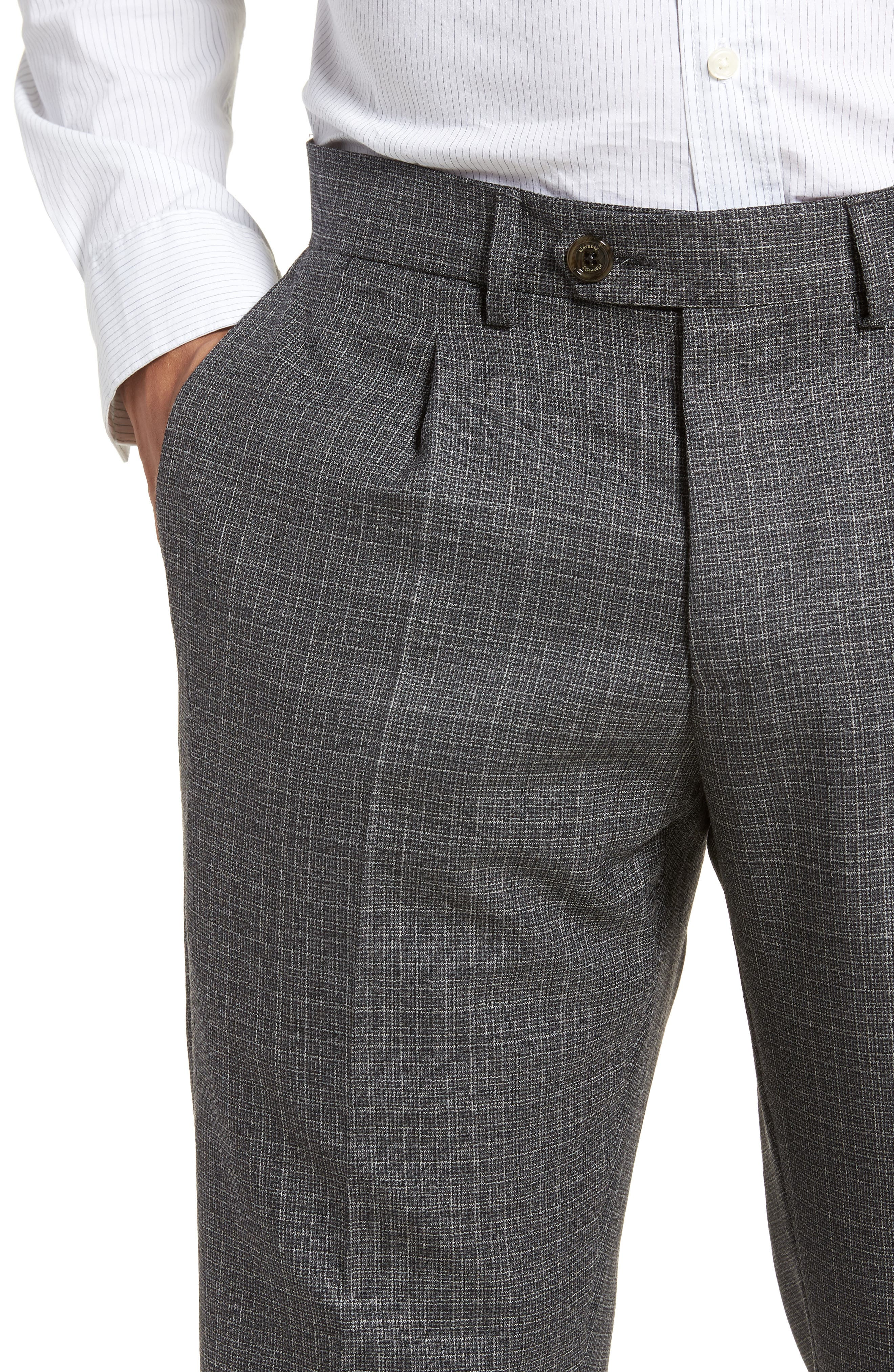 Pleated Check Wool Trousers,                             Alternate thumbnail 4, color,