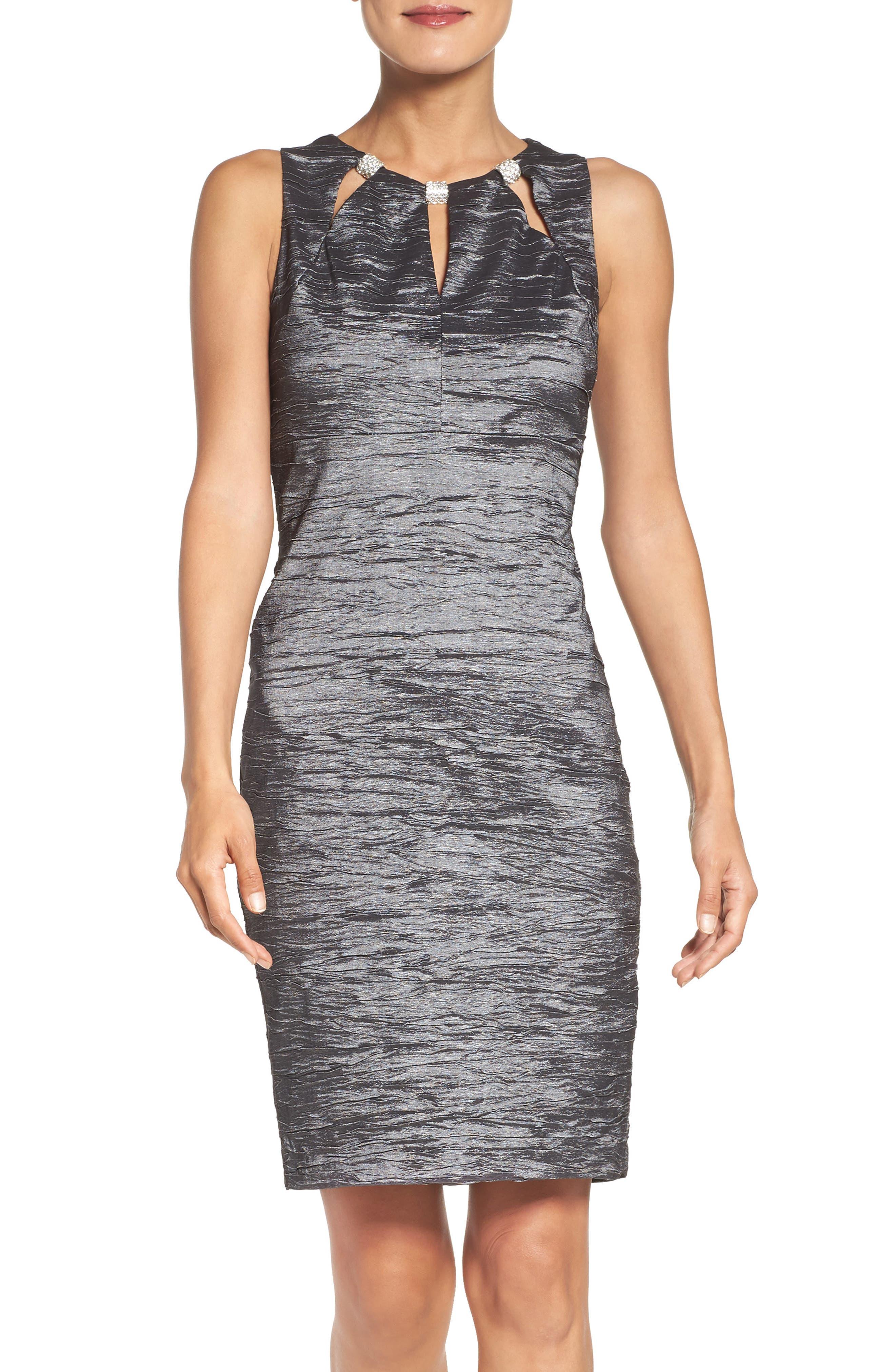 Embellished Cutout Taffeta Sheath Dress,                         Main,                         color, CHARCOAL