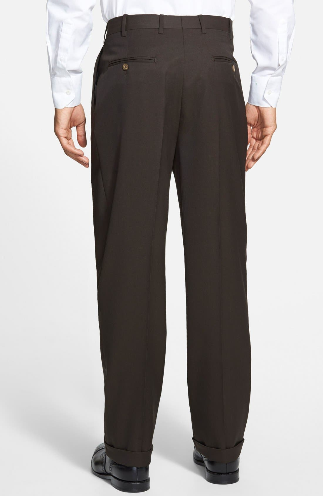 Pleated Super 100s Worsted Wool Trousers,                             Alternate thumbnail 18, color,