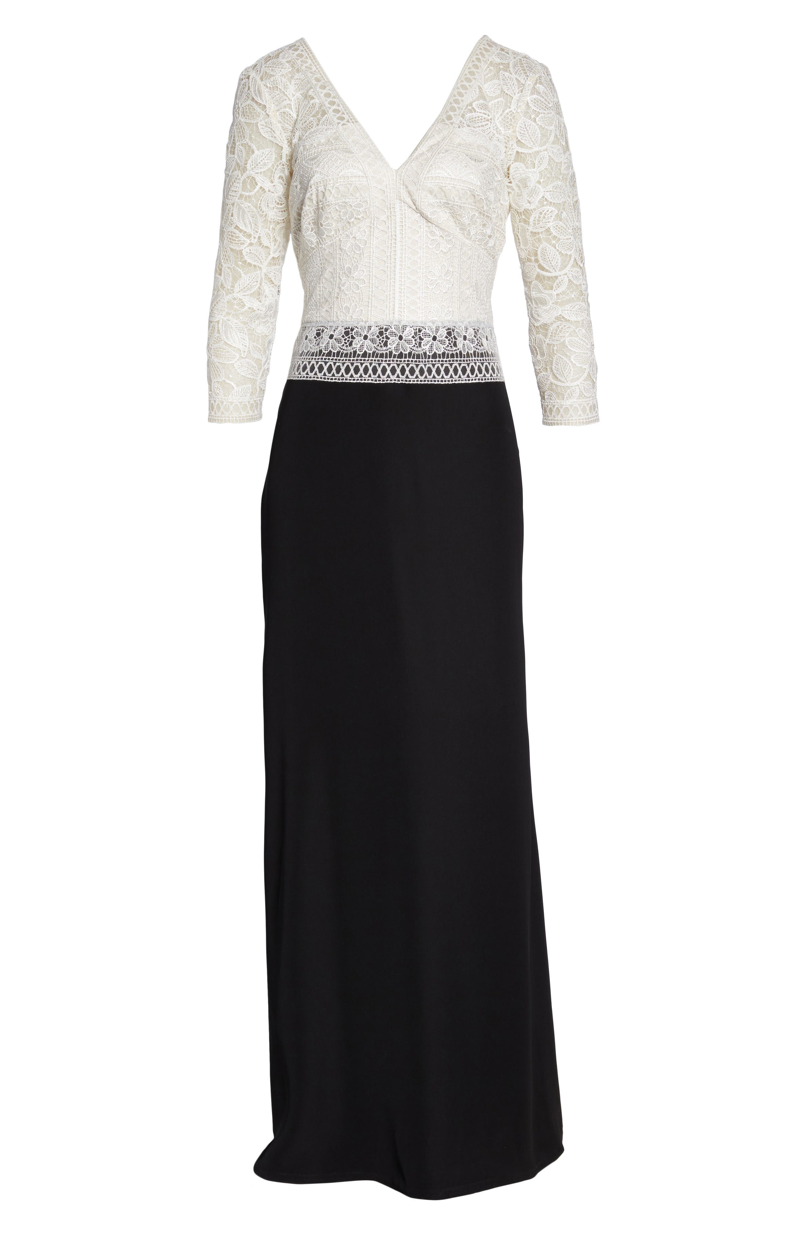 Lace & Crepe A-Line Gown,                             Alternate thumbnail 7, color,                             002