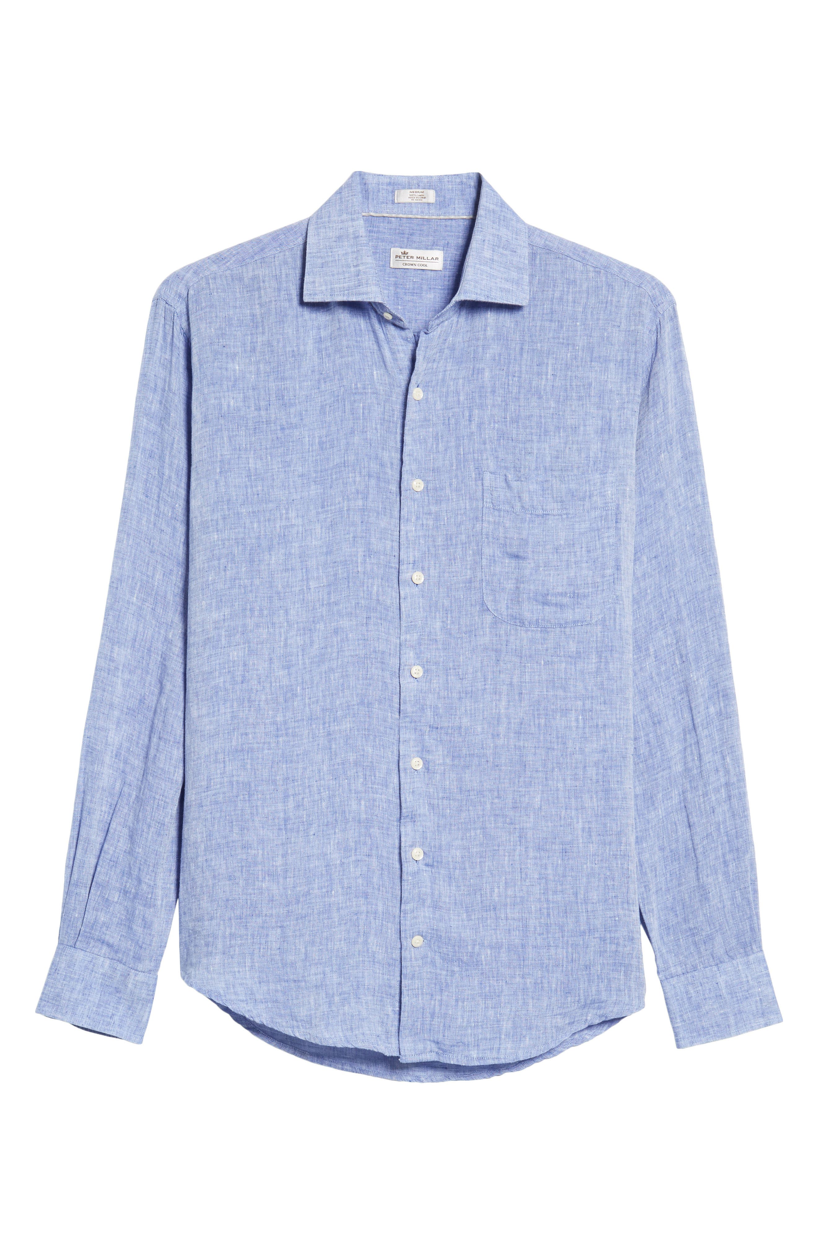 Classic Fit Crown Cool Linen Sport Shirt,                             Alternate thumbnail 6, color,                             YANKEE BLUE