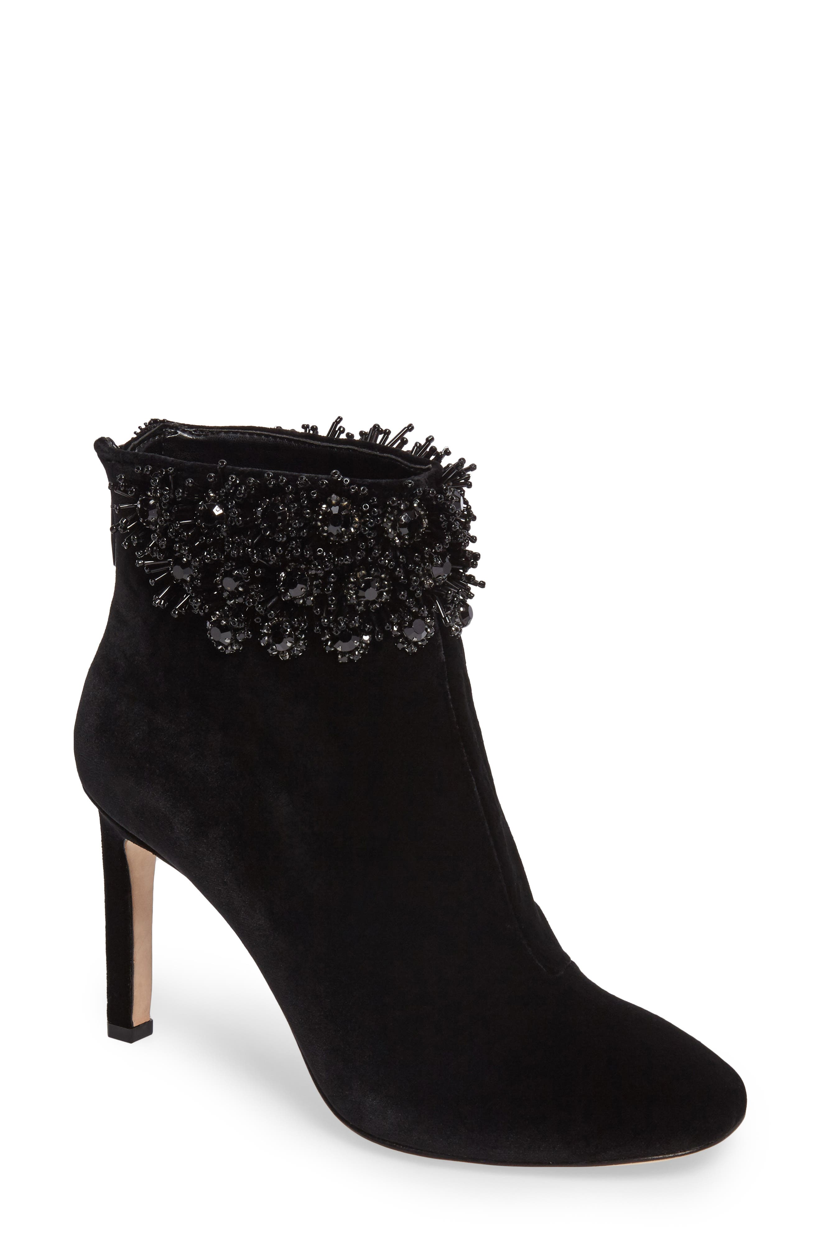 Imagine Vince Camuto Lura Crystal Flower Bootie,                             Main thumbnail 1, color,                             001