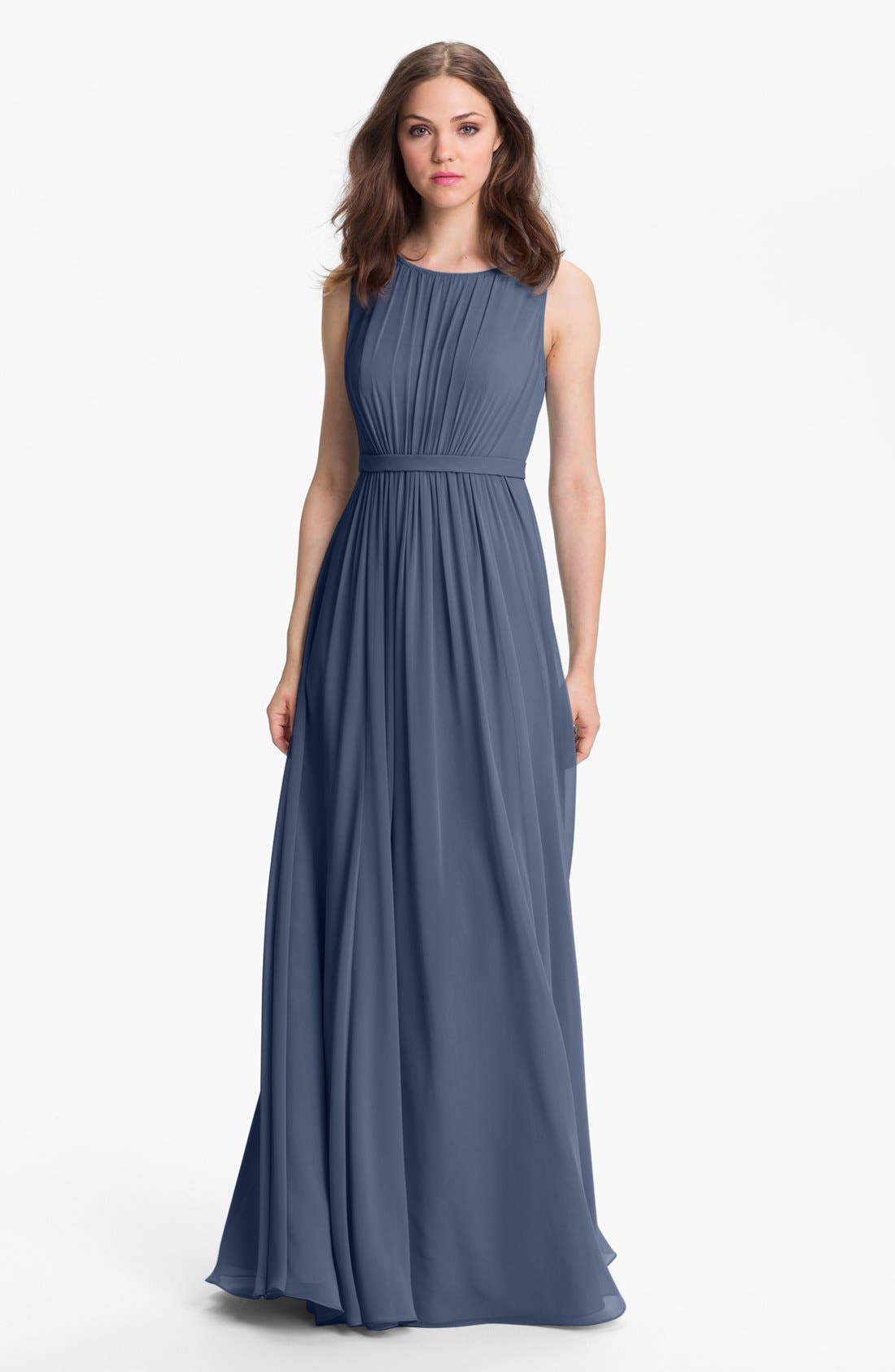 Vivienne Pleated Chiffon Gown,                             Main thumbnail 8, color,