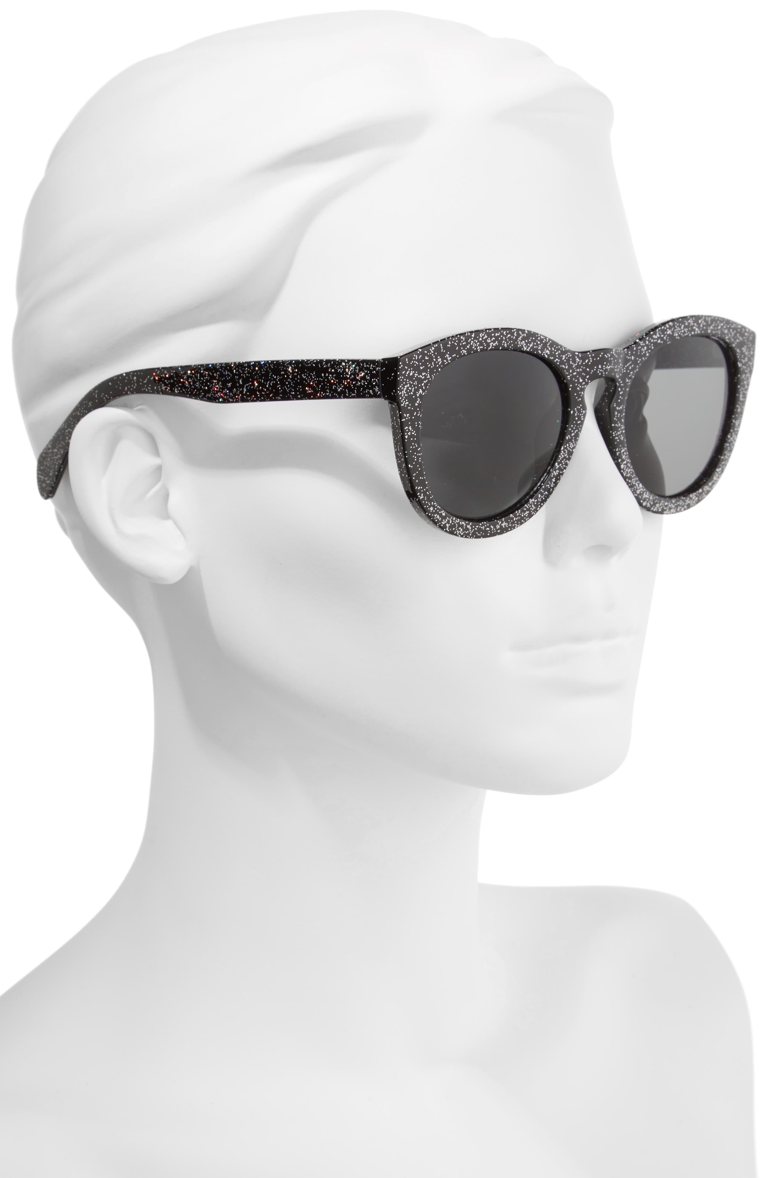 50mm Glitter Round Sunglasses,                             Alternate thumbnail 2, color,