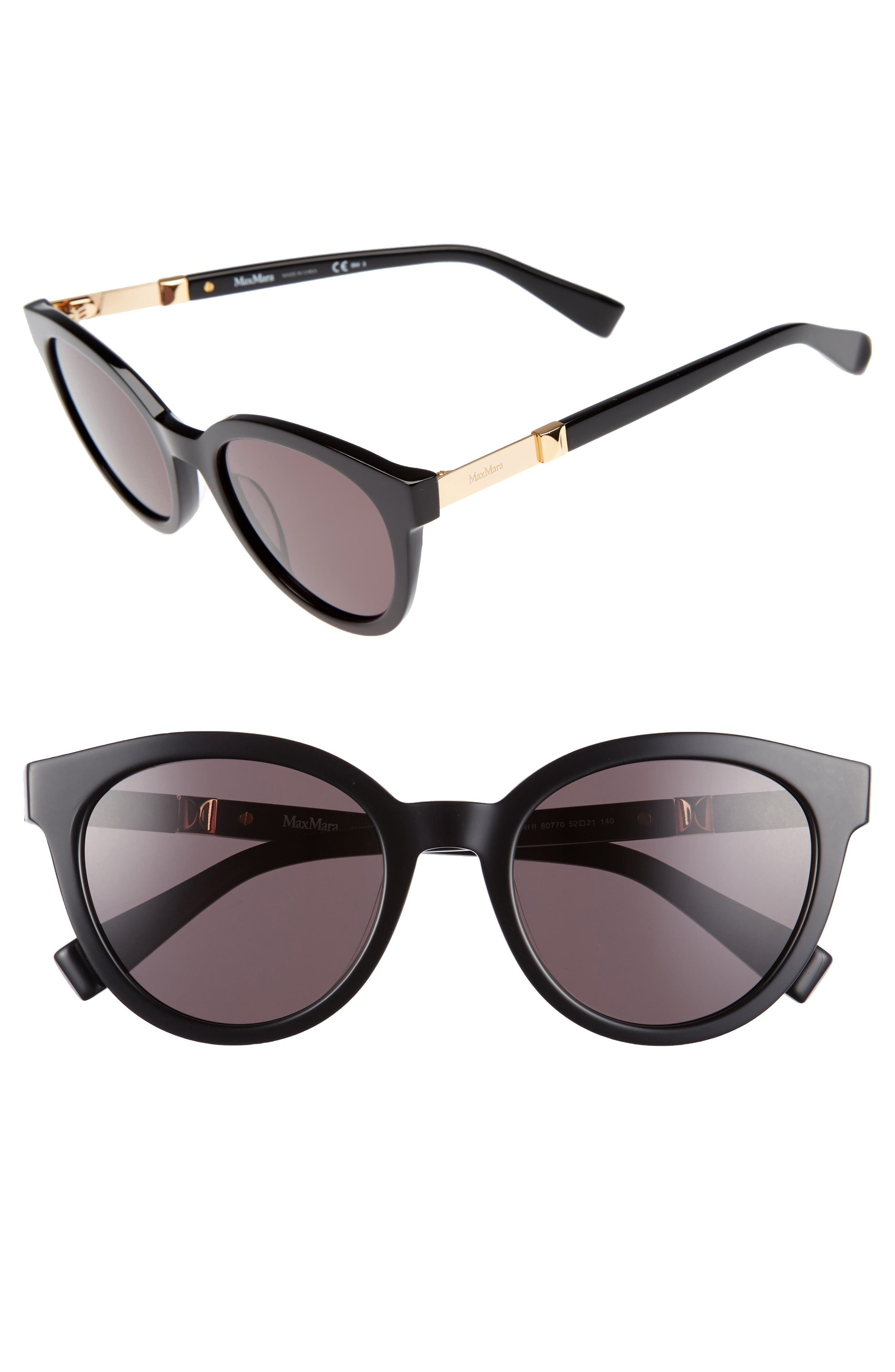 Gemini 52mm Cat Eye Sunglasses,                         Main,                         color, 001