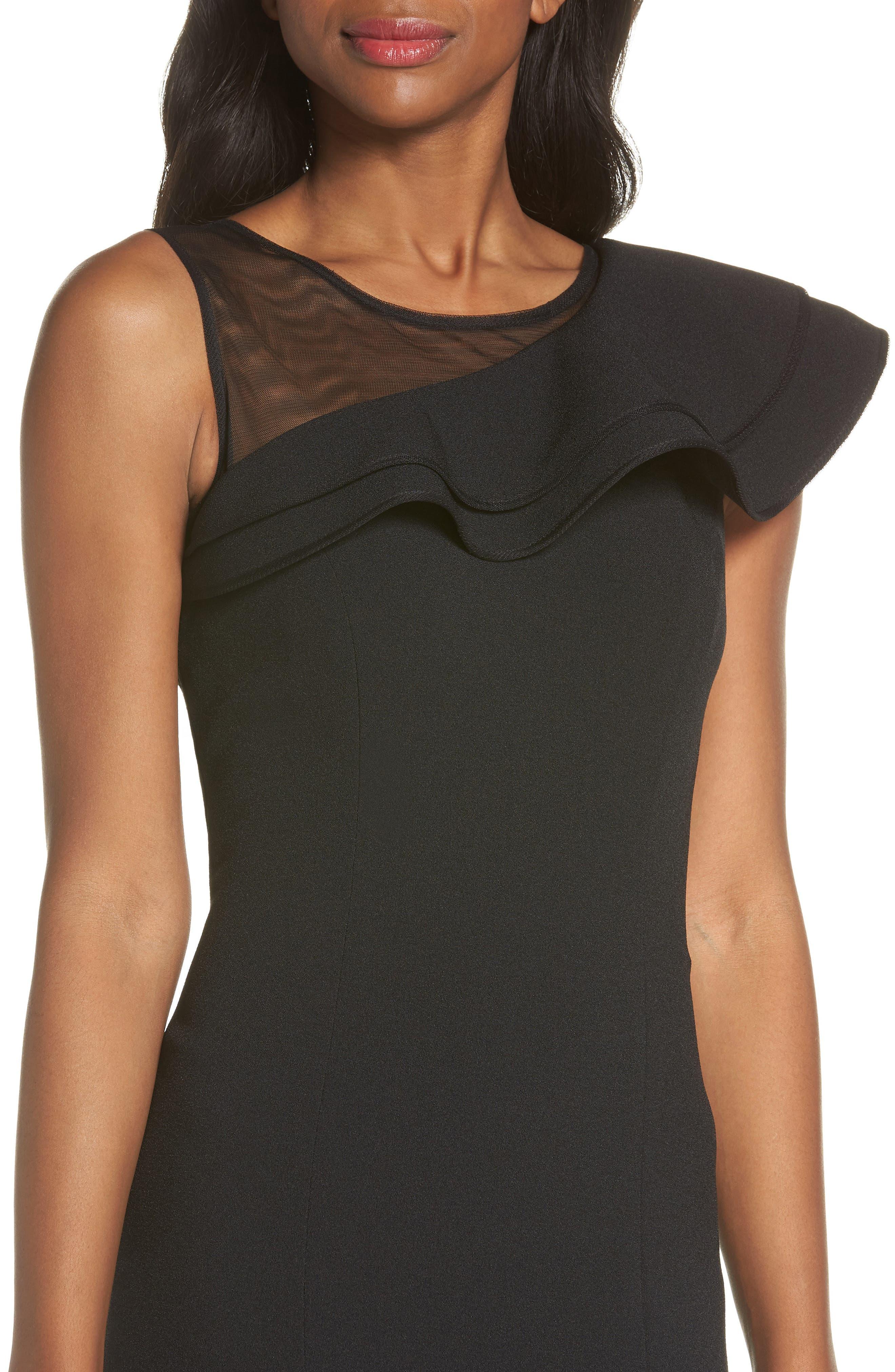 Asymmetrical Ruffle Neck Crepe Cocktail Dress,                             Alternate thumbnail 4, color,                             BLACK