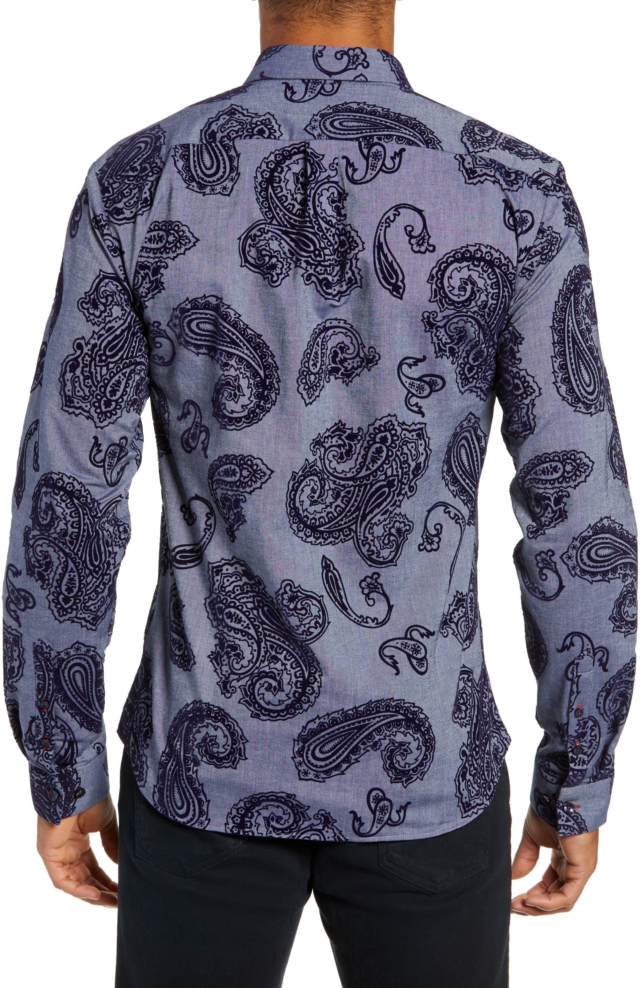 Trim Fit Sport Shirt,                             Alternate thumbnail 3, color,                             BLUE PAISLEY FLOCKING