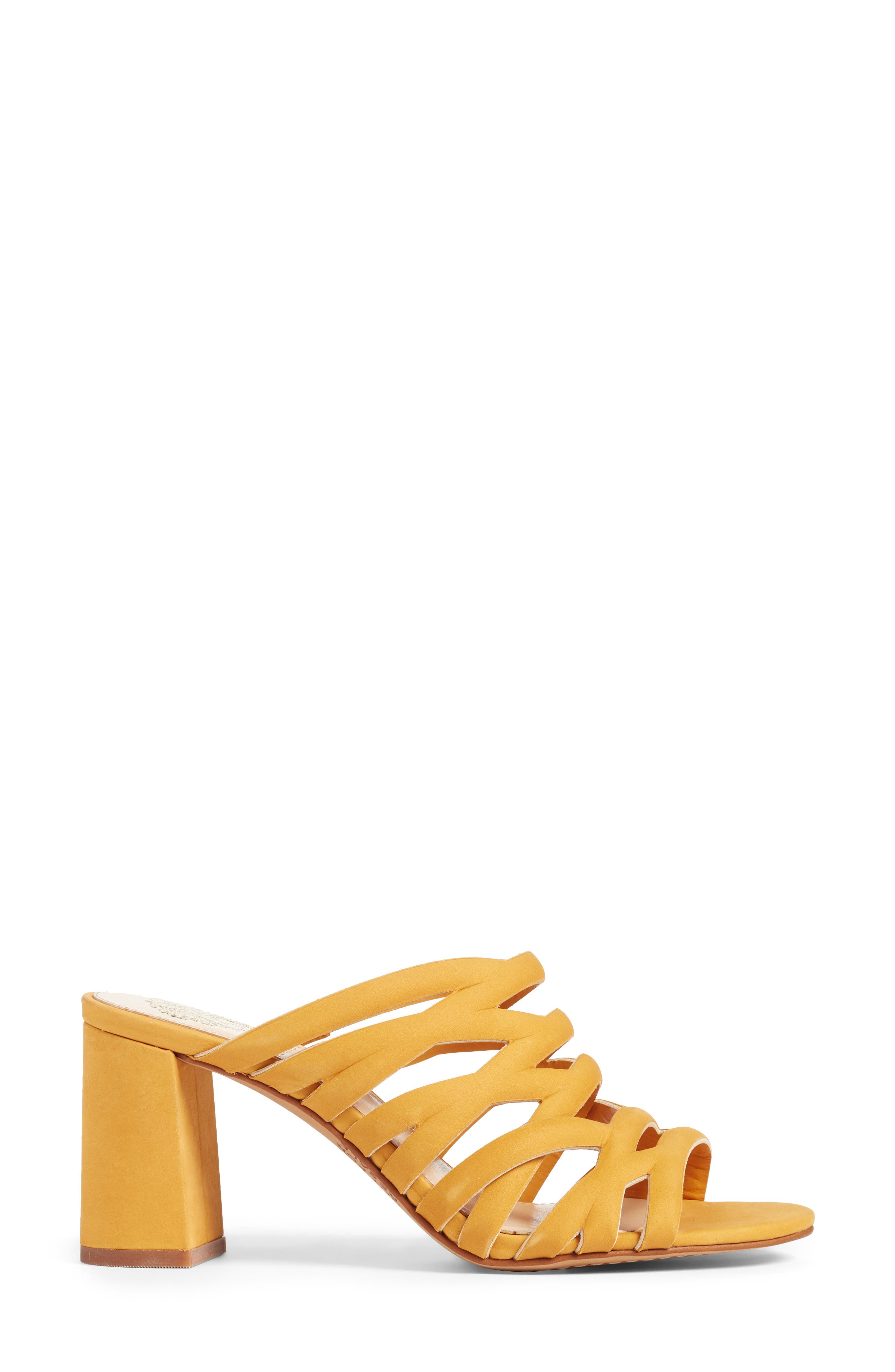 Raveana Cage Mule,                             Alternate thumbnail 3, color,                             MUSTARD YELLOW LEATHER
