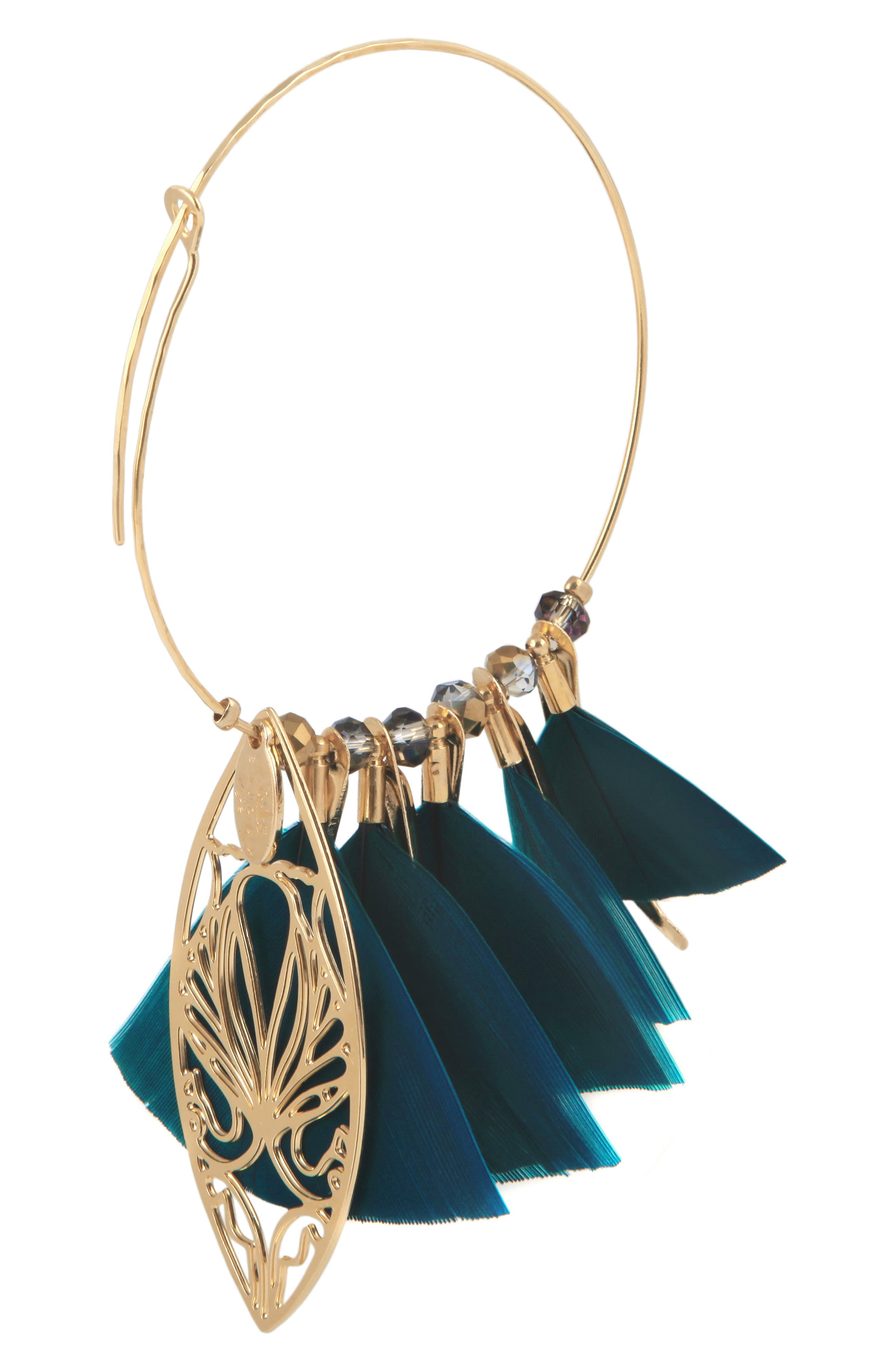 Marly Feather Drop Earrings,                             Alternate thumbnail 2, color,                             BLUE