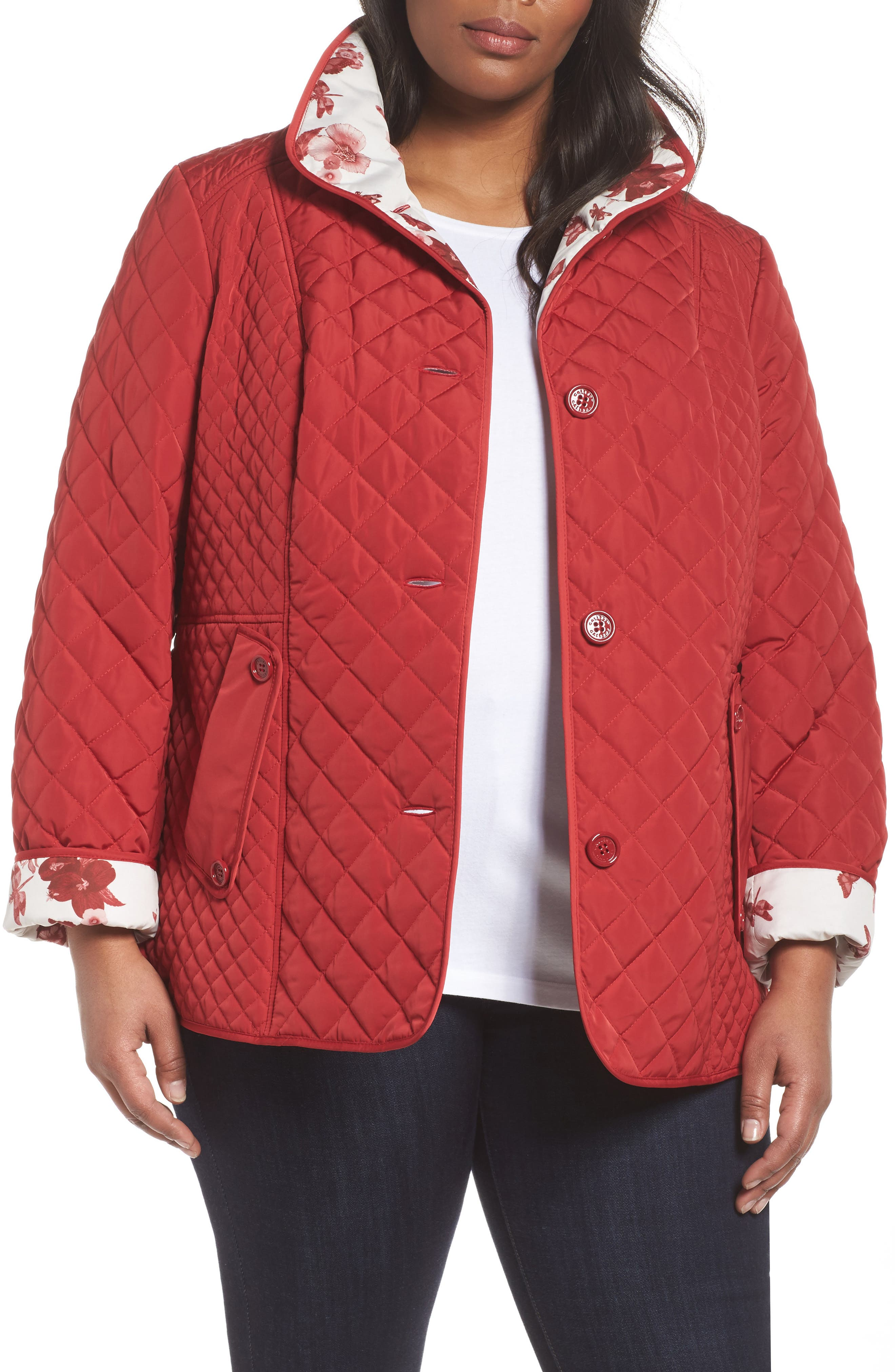 Print Collar Quilted Jacket,                             Main thumbnail 2, color,