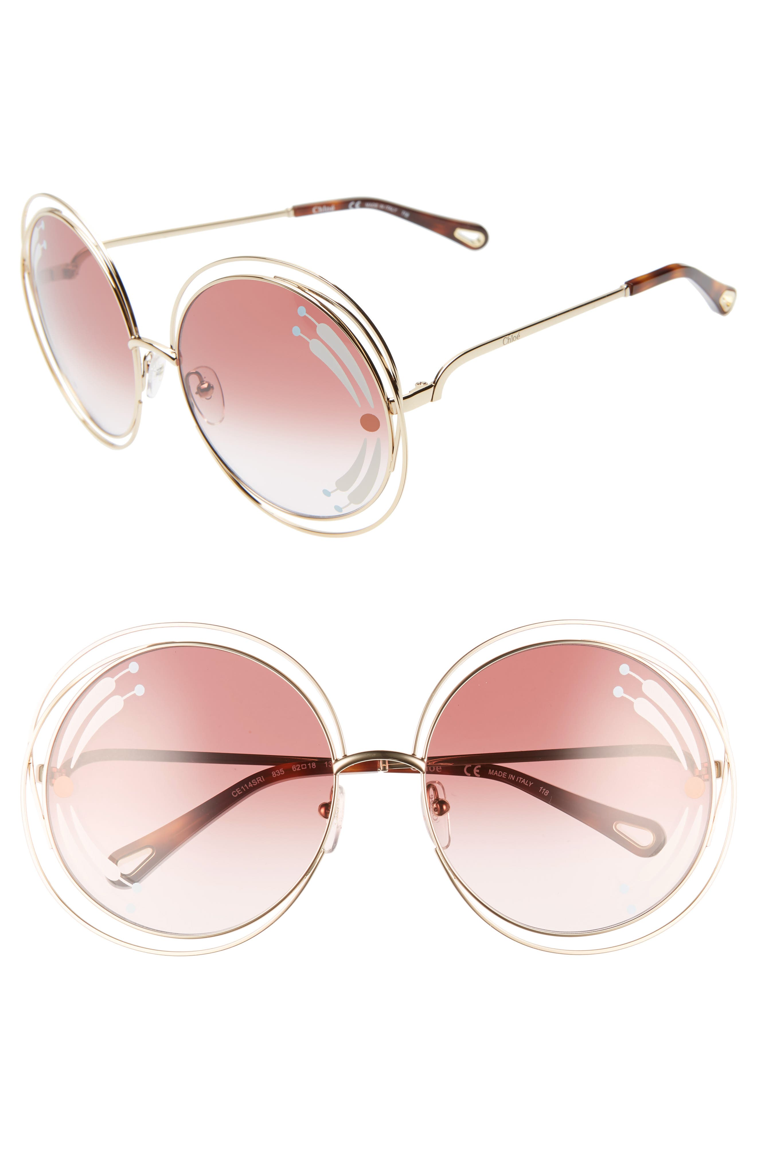 Chloe Carlina 62Mm Oversize Round Sunglasses - Gold/ Burgundy W Print