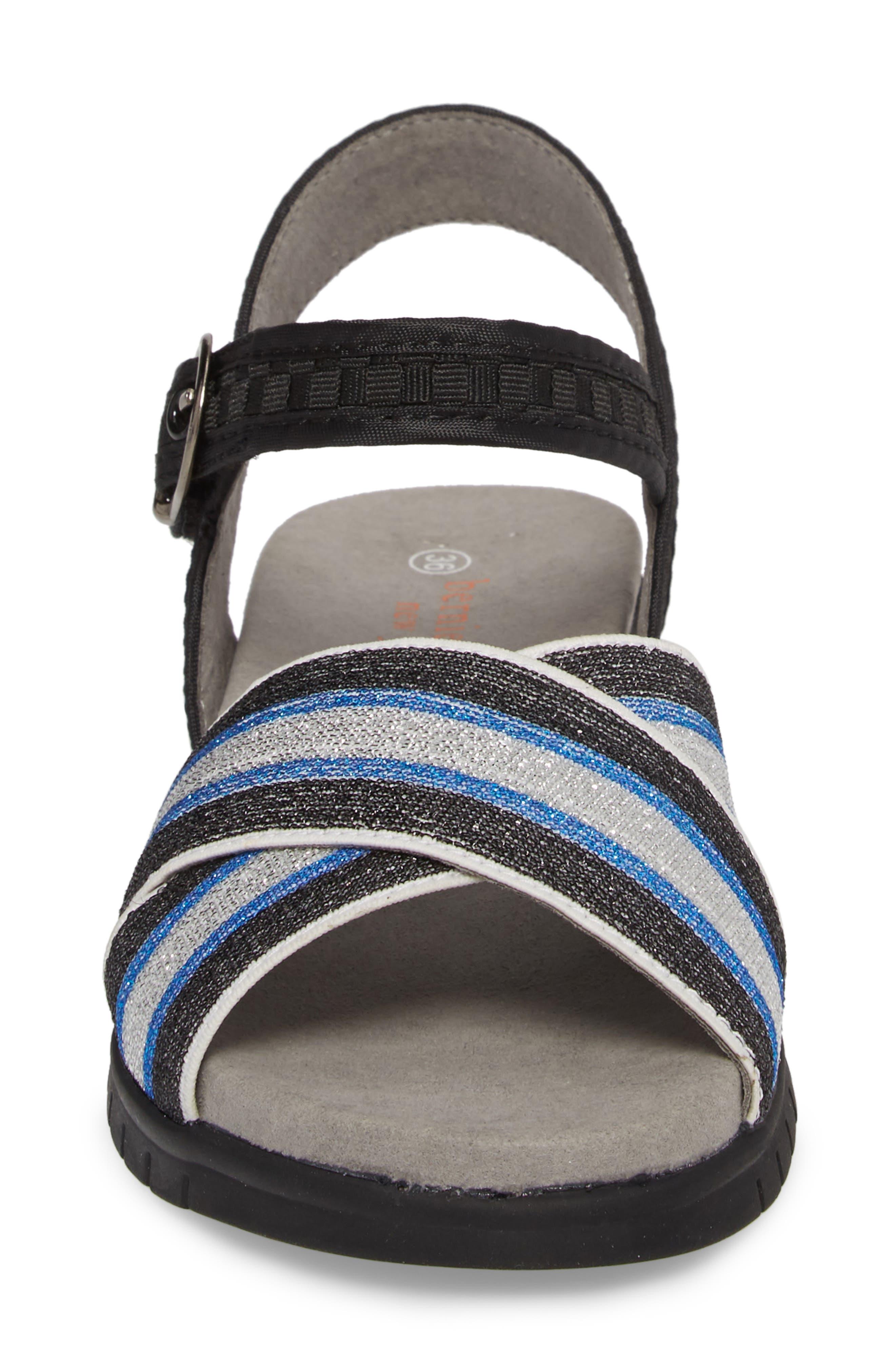 Malibu Sandal,                             Alternate thumbnail 4, color,                             BLACK BLUE STRIPE FABRIC