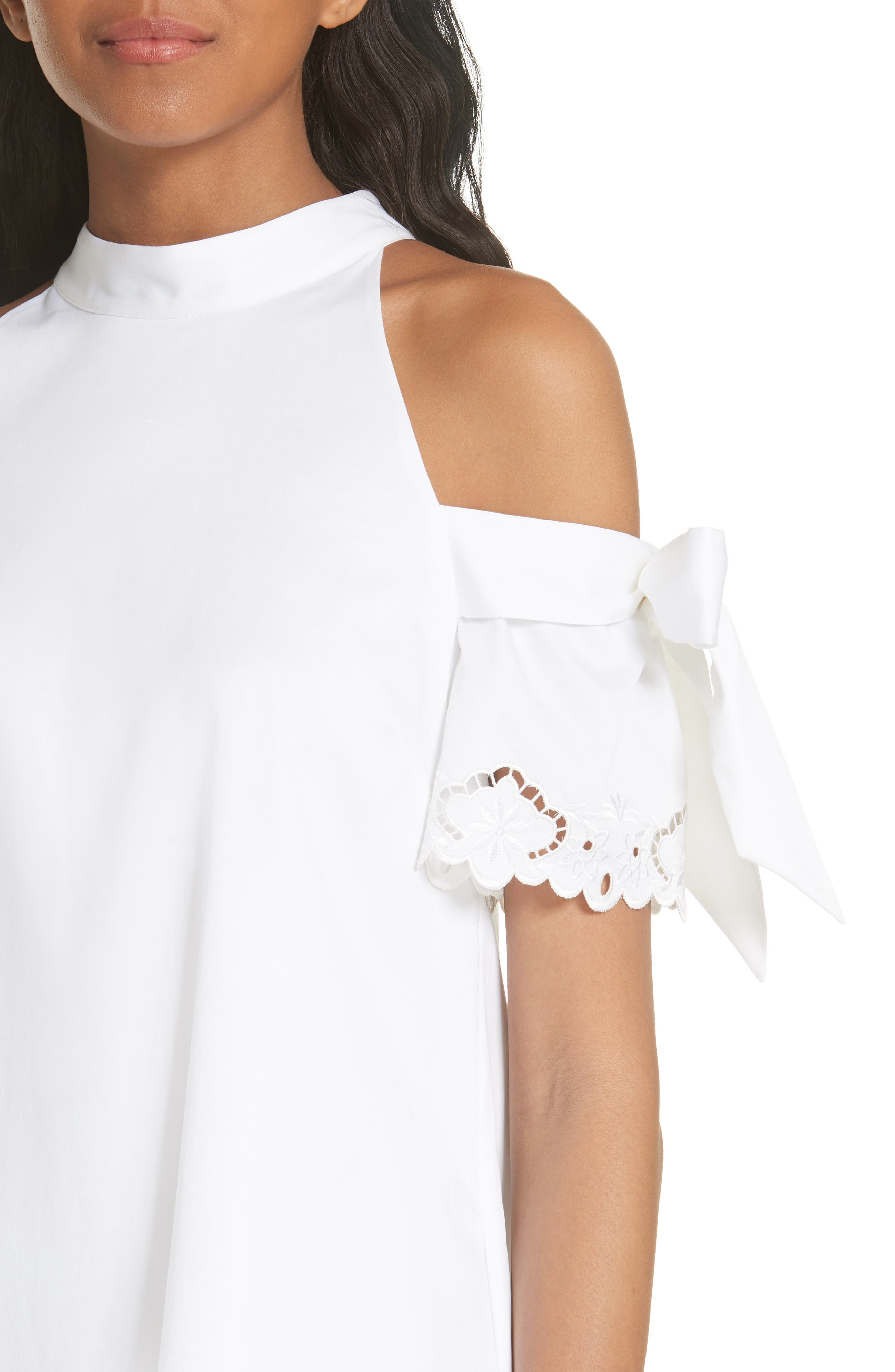 Semarra Embroidered Cold Shoulder Dress,                             Alternate thumbnail 4, color,                             110