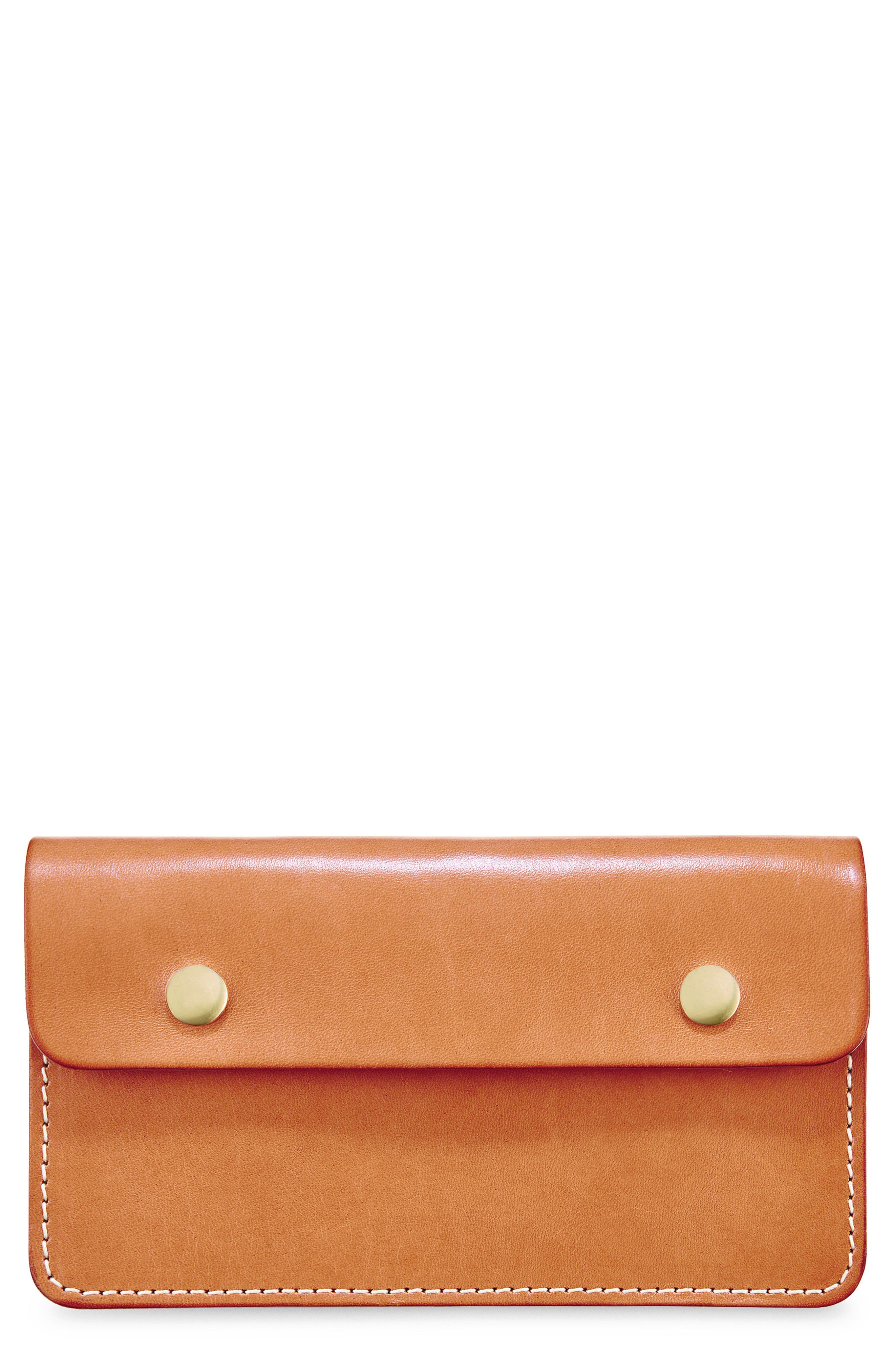 Leather Trucker Wallet,                             Main thumbnail 1, color,                             TANNED VEGETABLE