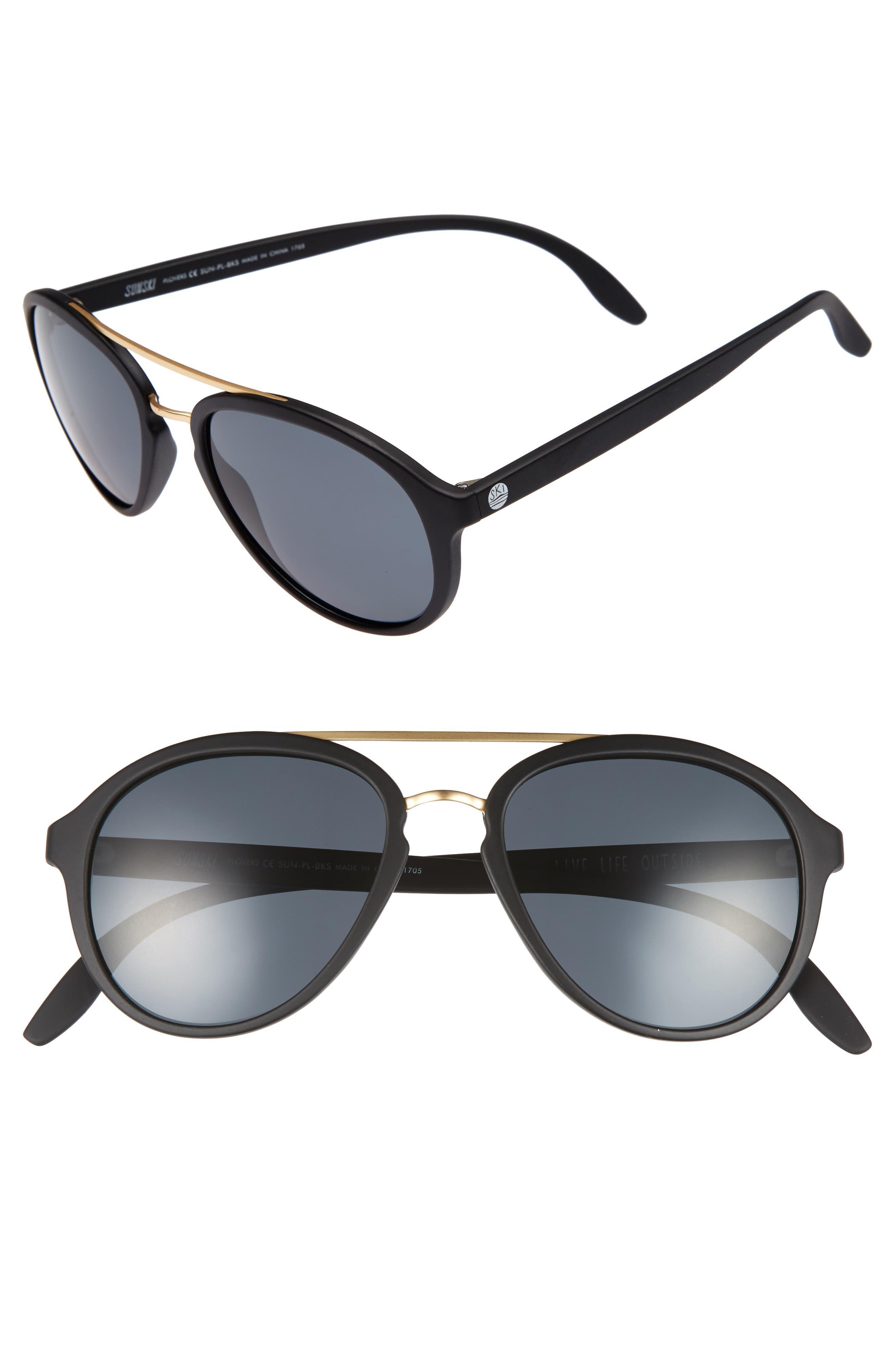 Plover 60mm Polarized Sunglasses,                             Main thumbnail 1, color,                             BLACK/ SLATE