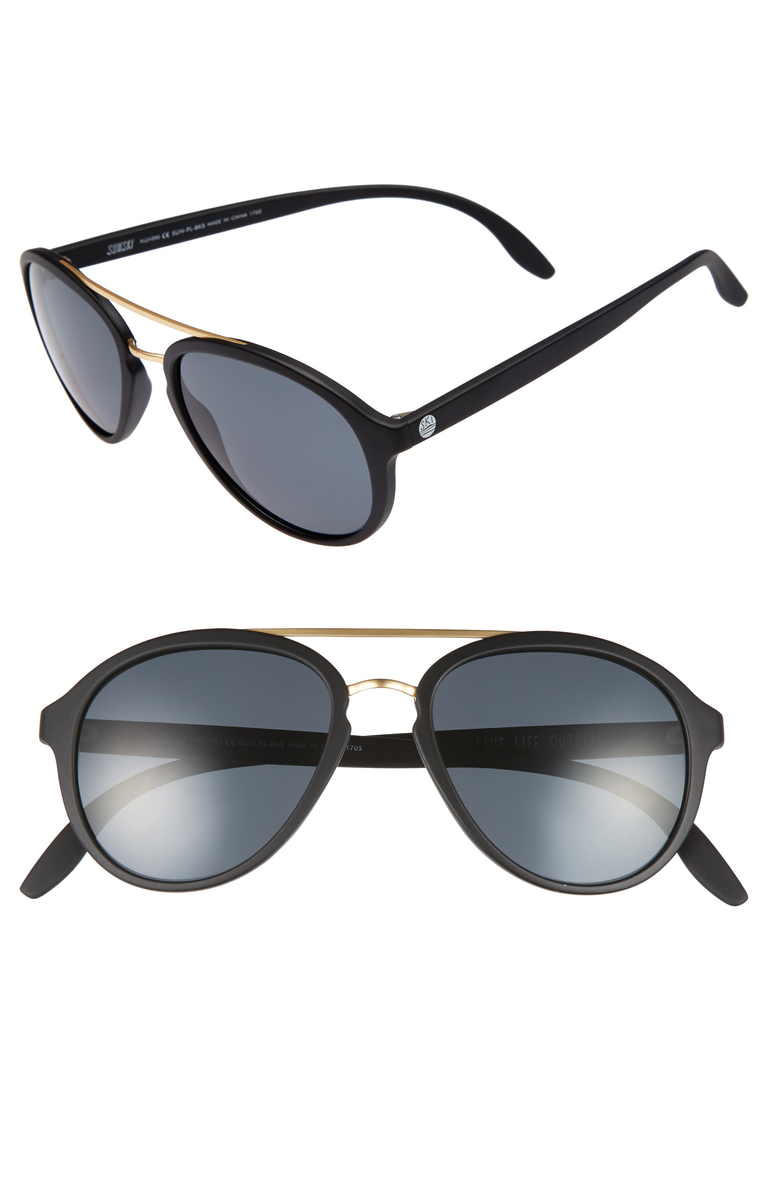 Plover 60mm Polarized Sunglasses,                         Main,                         color, BLACK/ SLATE