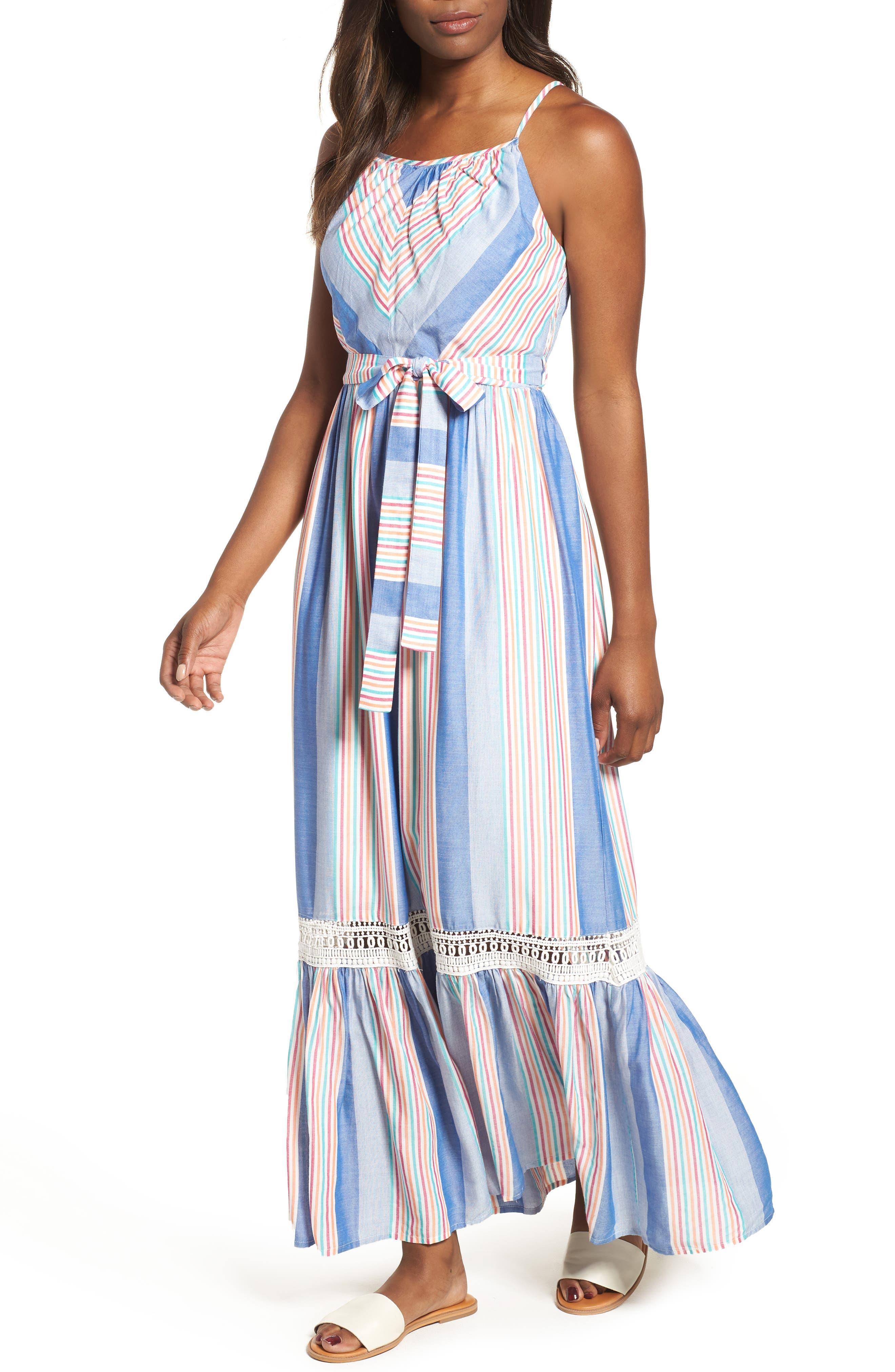 Tie Waist Cotton Maxi Dress,                             Main thumbnail 3, color,