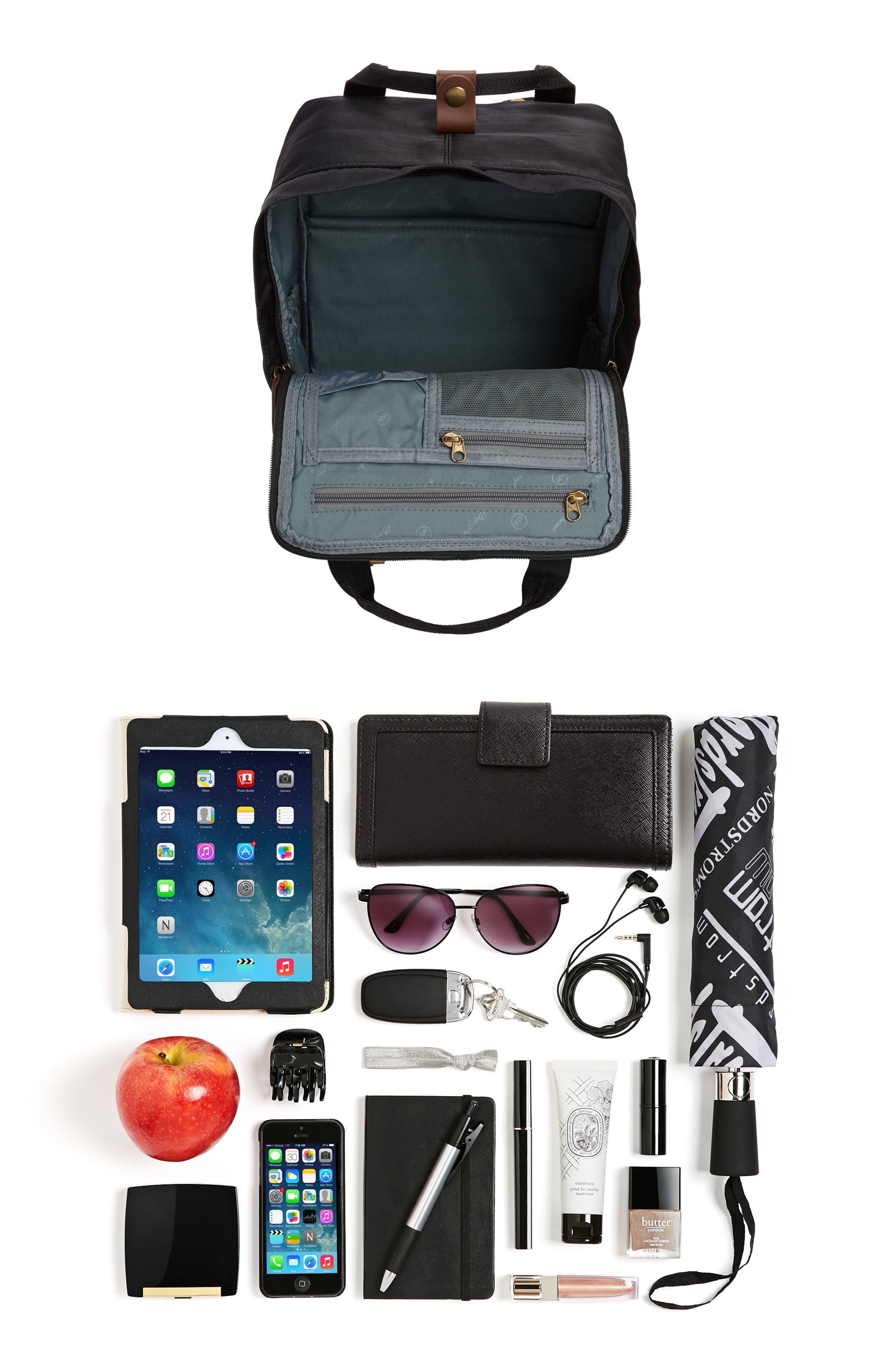 Macaroon Water Resistant Backpack,                             Alternate thumbnail 7, color,                             BLACK