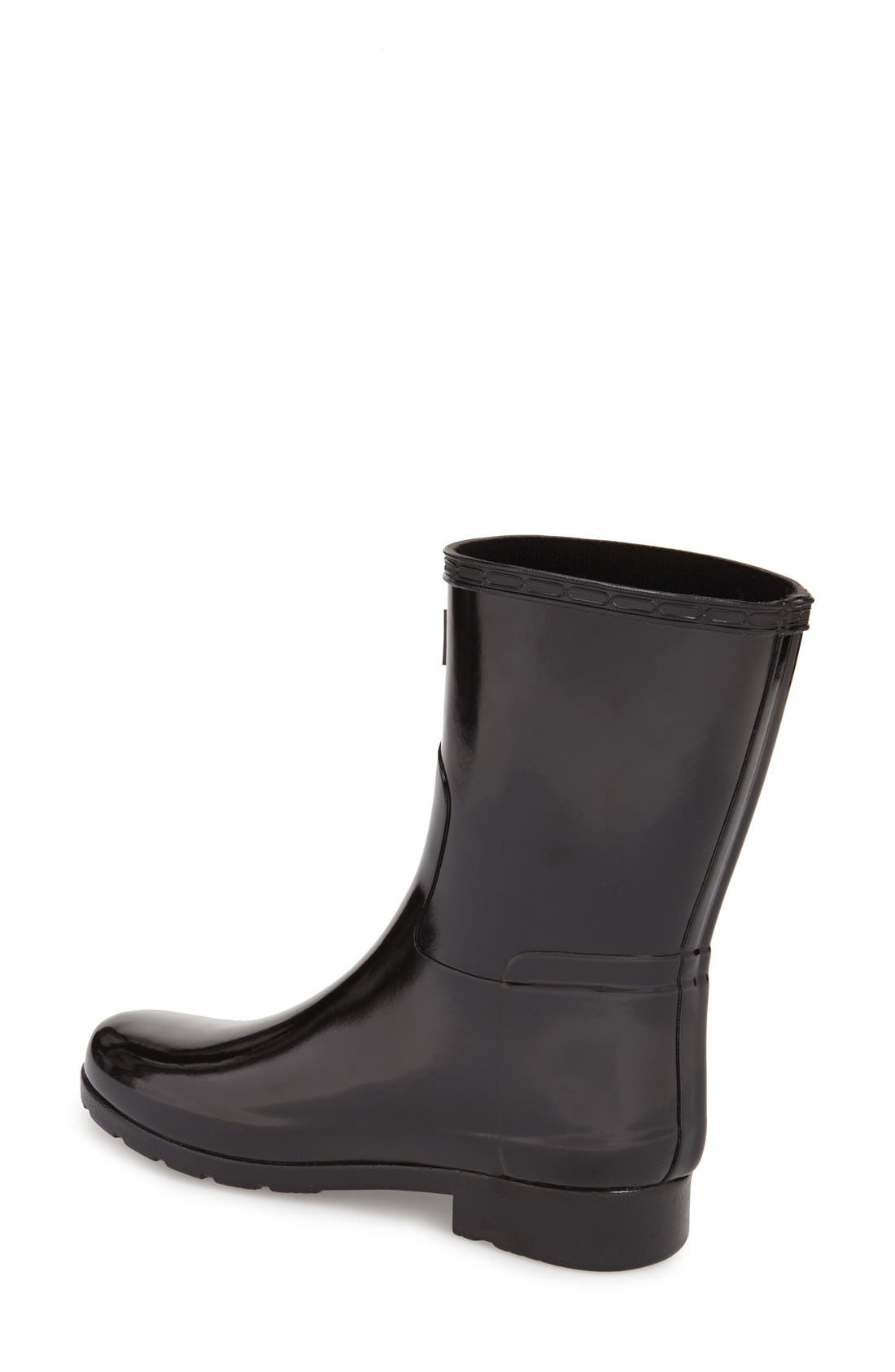 Refined Short Gloss Rain Boot,                             Alternate thumbnail 2, color,                             BLACK