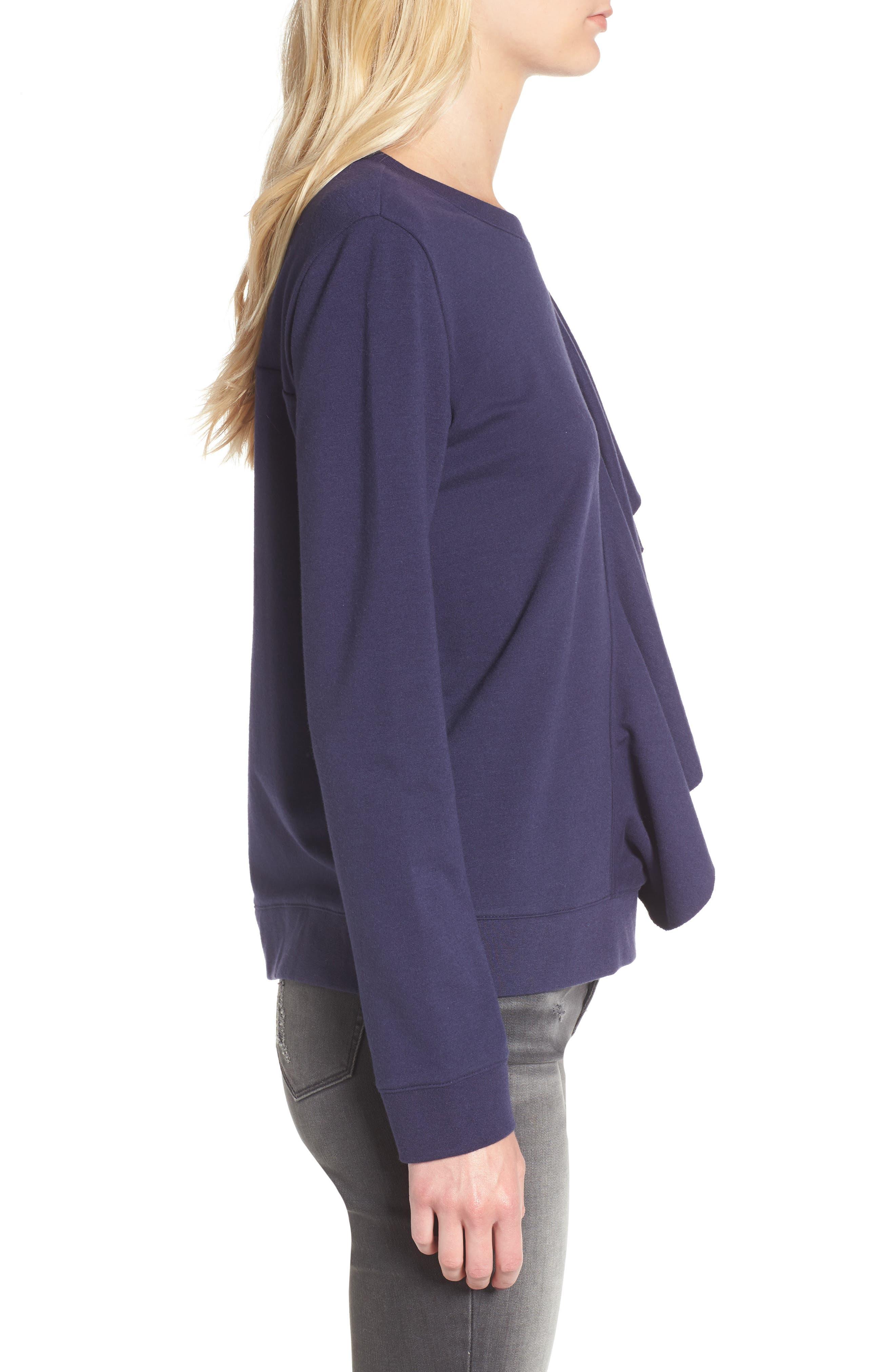 Asymmetrical Ruffle Sweatshirt,                             Alternate thumbnail 3, color,                             400
