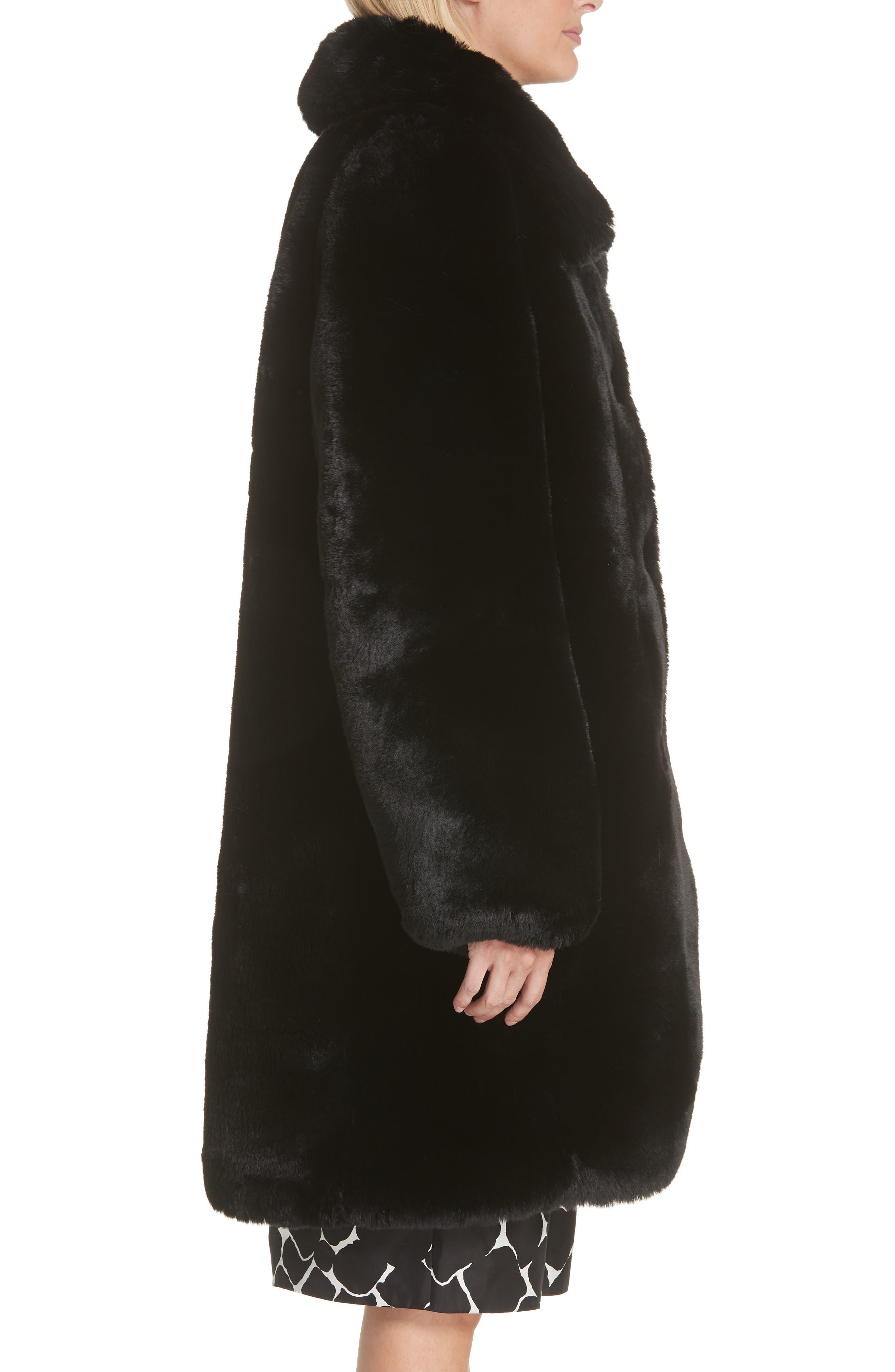 Faux Fur Coat,                             Alternate thumbnail 4, color,                             001