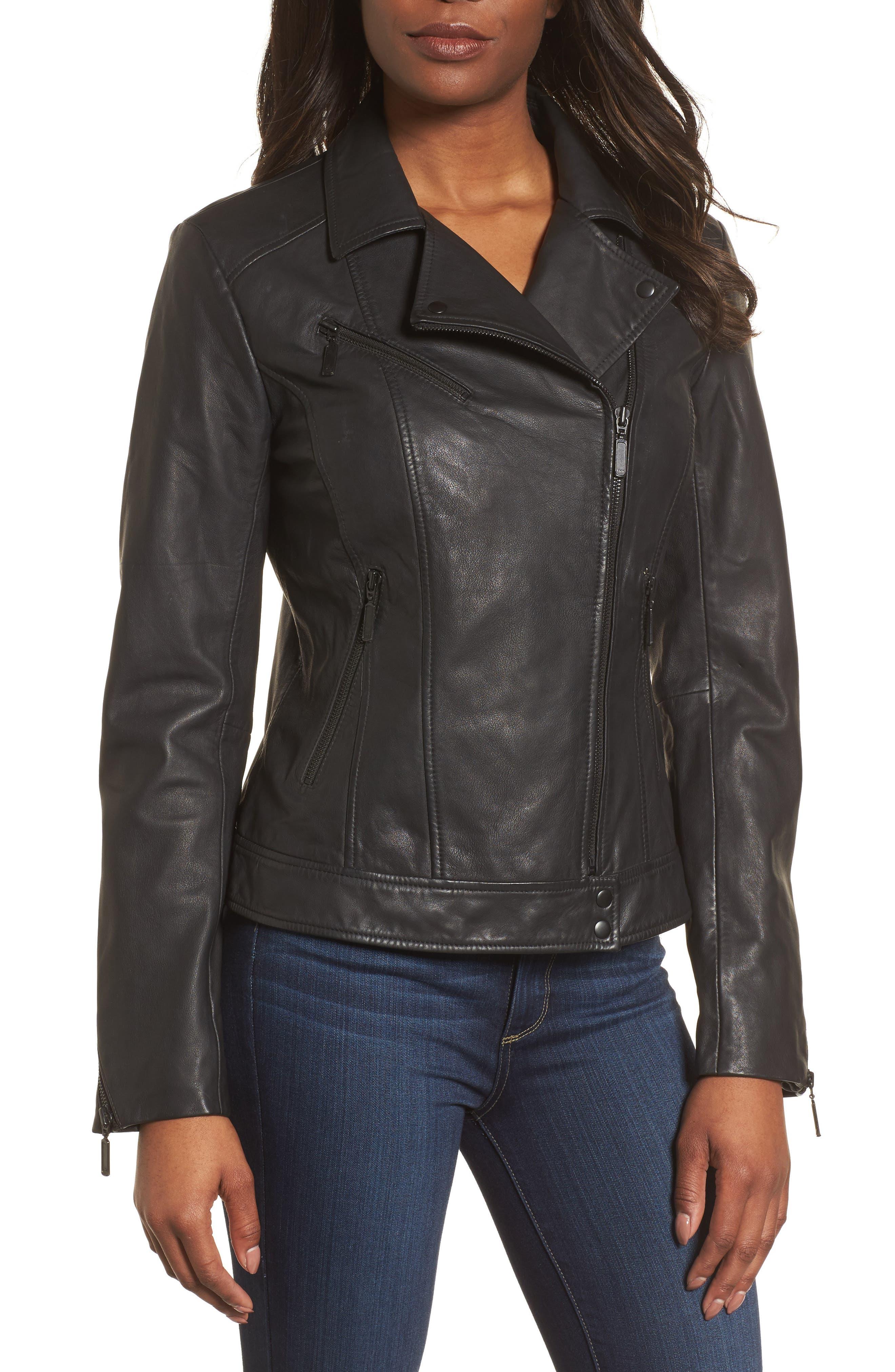 Moto Zip Leather Jacket,                             Alternate thumbnail 4, color,                             001