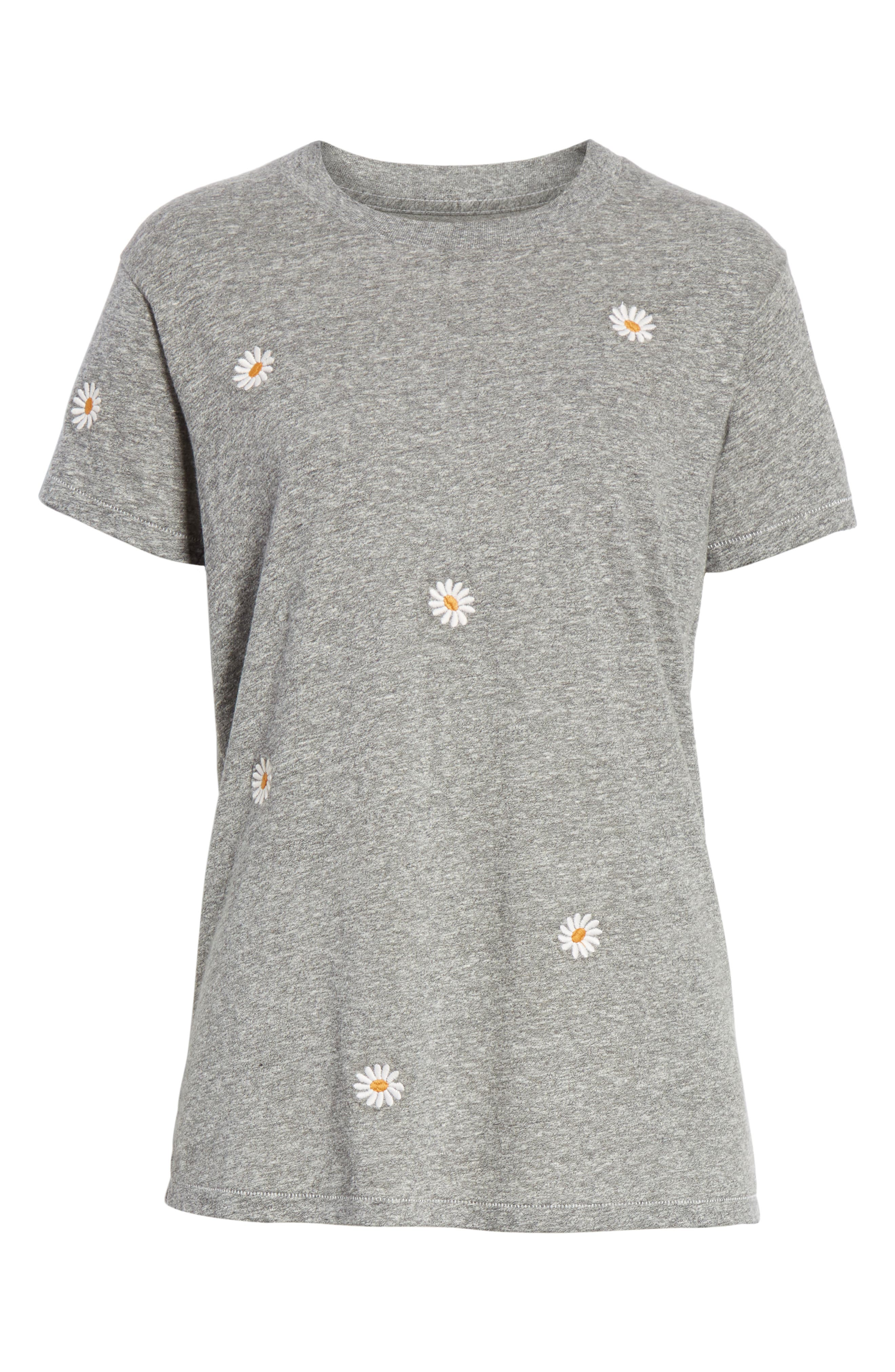 The Embroidered Slim Tee,                             Alternate thumbnail 6, color,                             HEATHER GREY W/ DAISY EMB