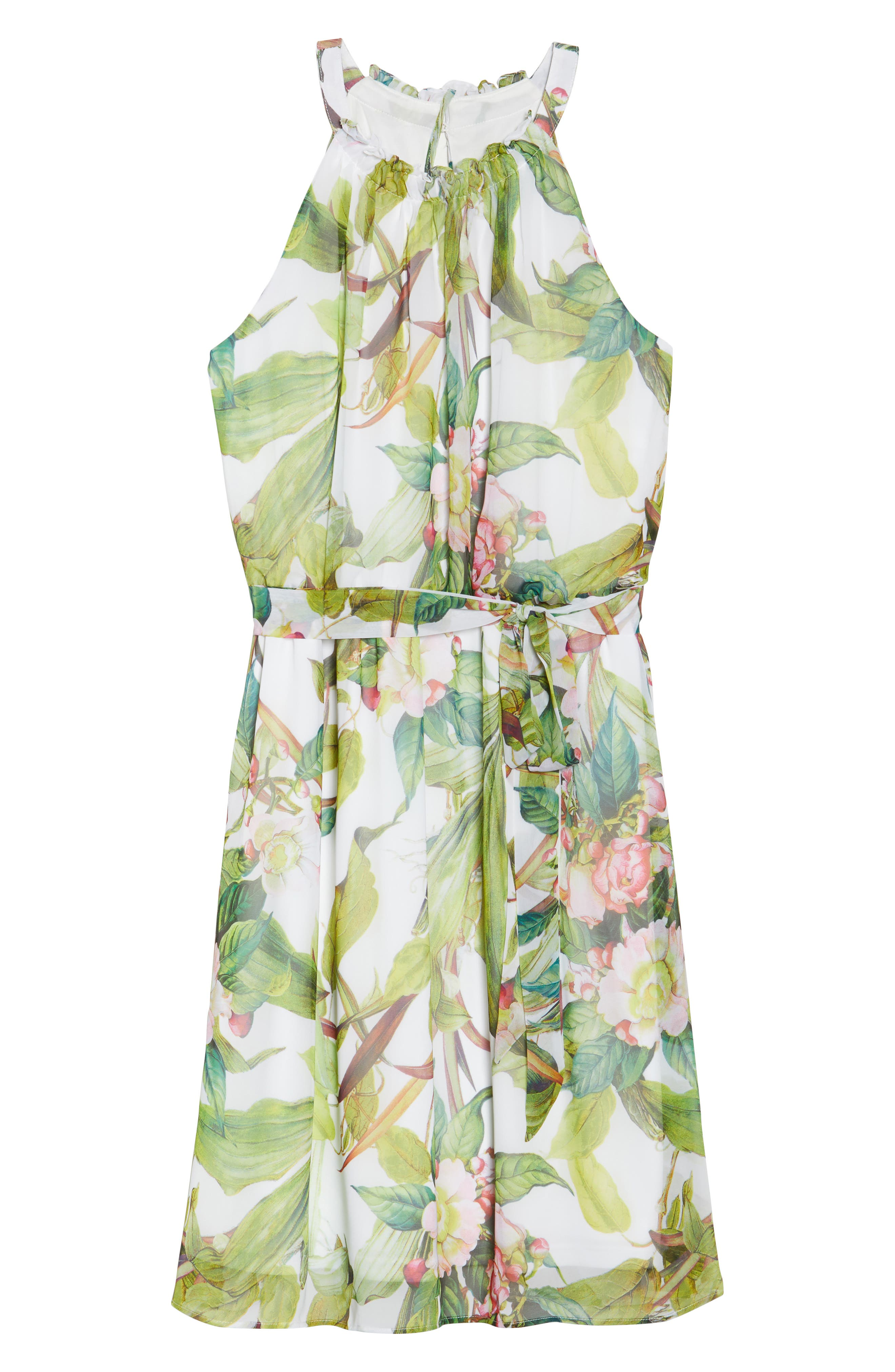 Adrianne Papell Tahitian Tropics Blouson Halter Dress,                             Alternate thumbnail 6, color,                             900