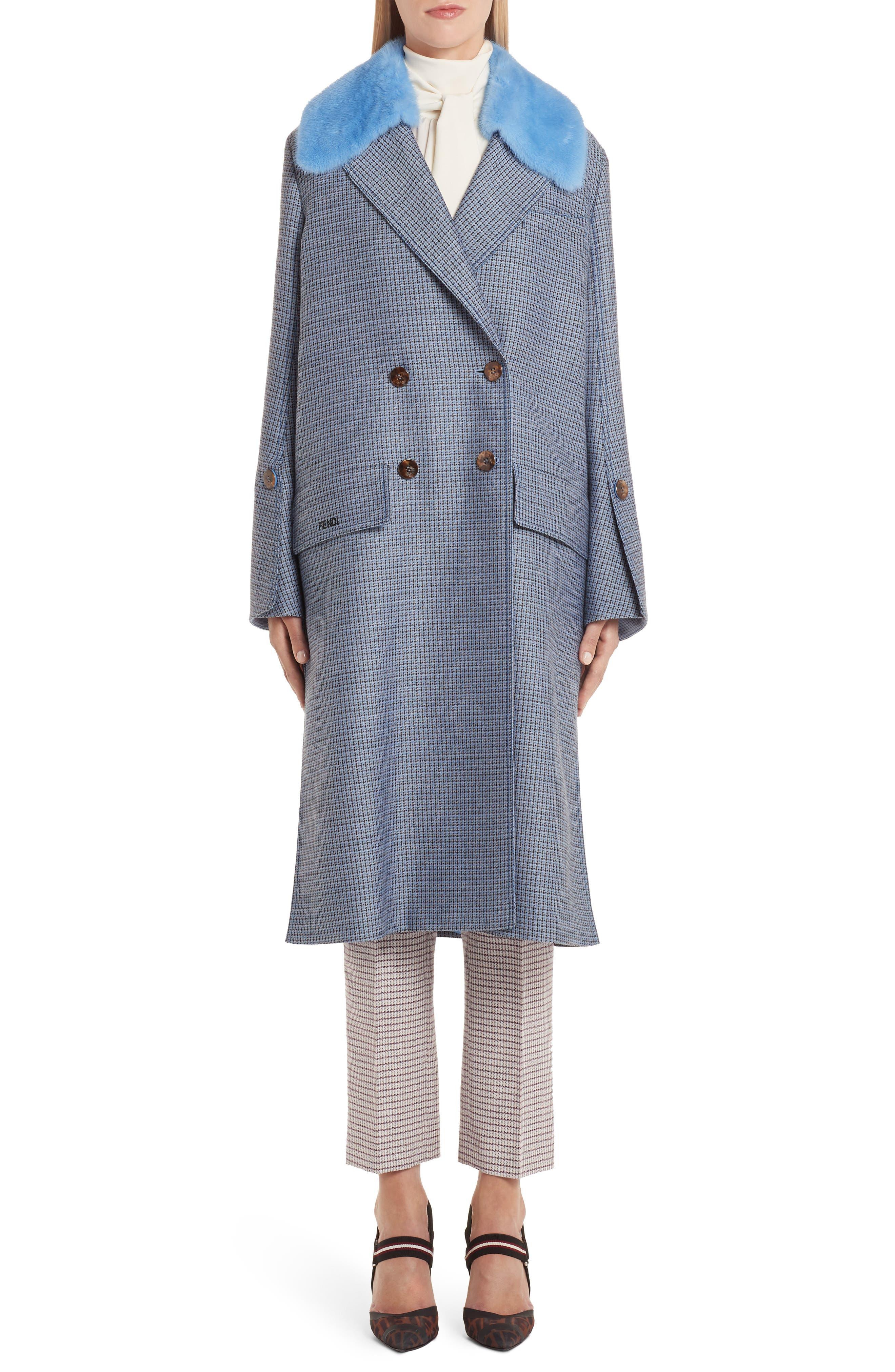 Genuine Mink Fur Collar Wool & Silk Blend Coat, Main, color, ANTIGUA BLUE