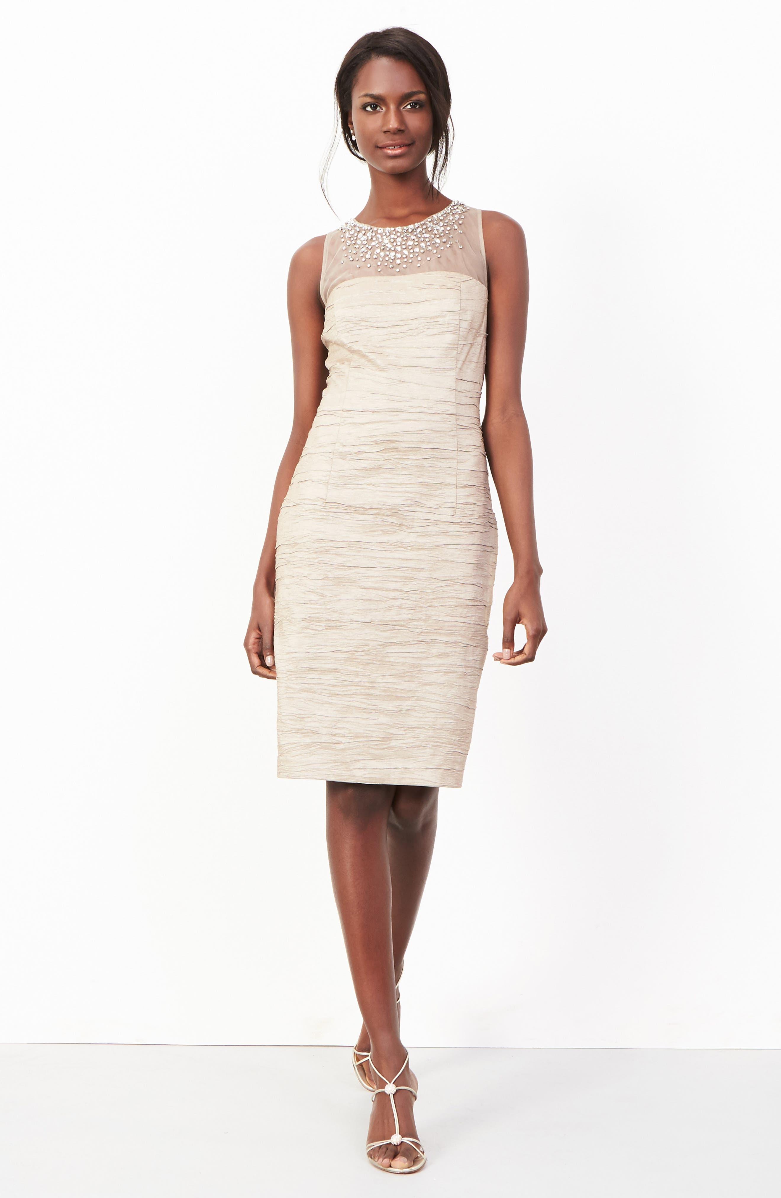 Metallic Sheath Dress,                             Main thumbnail 1, color,