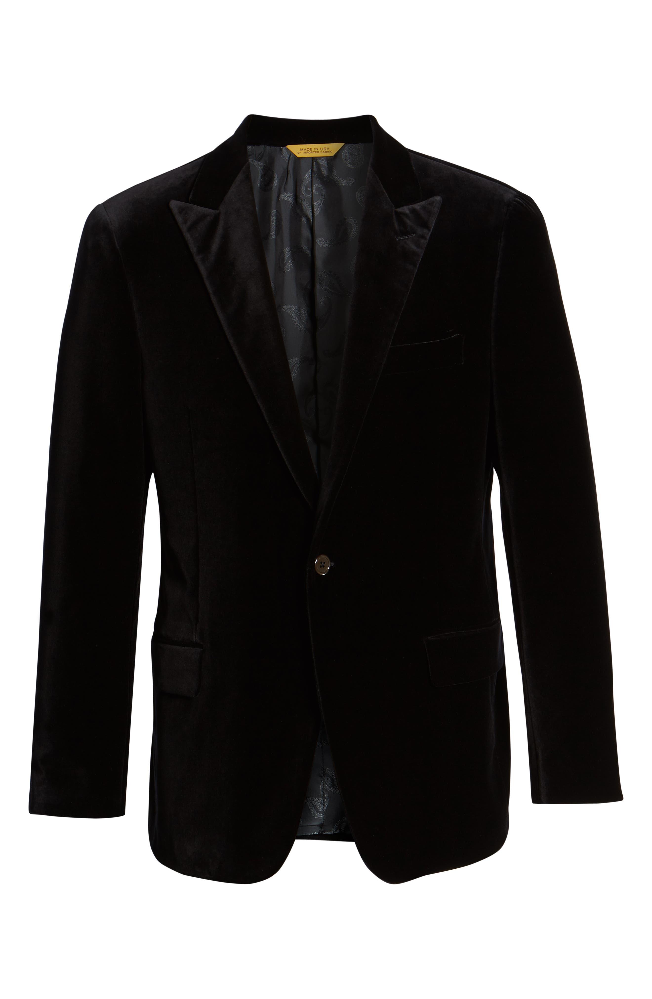Classic Fit Stretch Cotton Velvet Dinner Jacket,                             Alternate thumbnail 5, color,                             BLACK