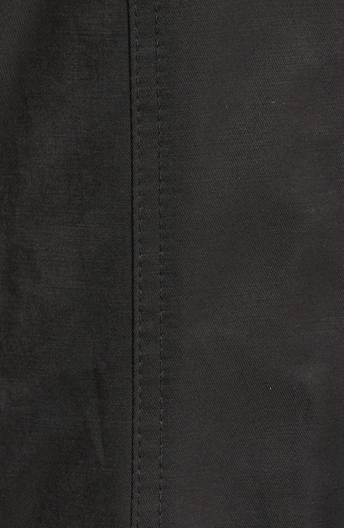 Packable Fit & Flare Raincoat,                             Alternate thumbnail 6, color,                             BLACK