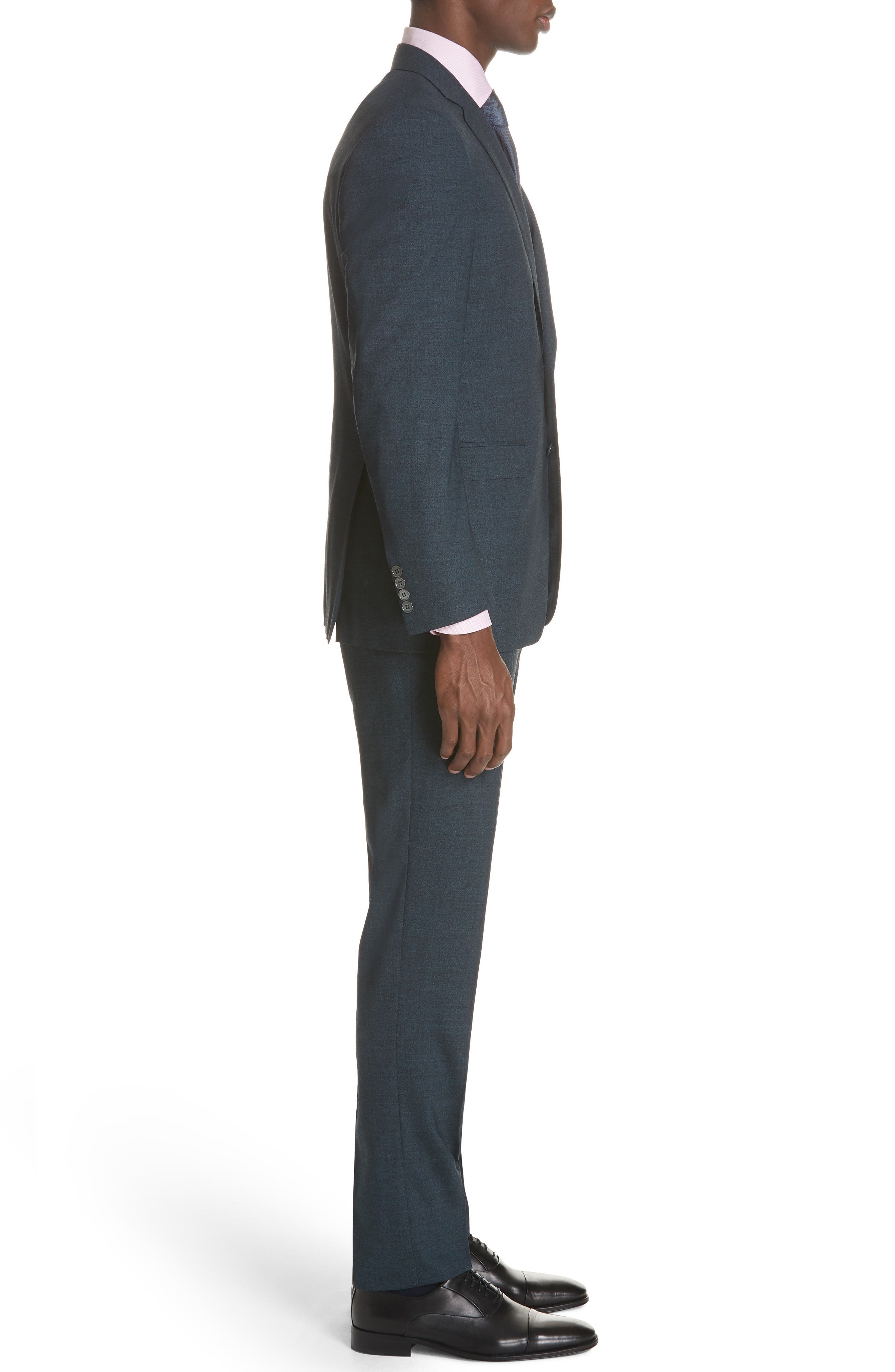 CANALI,                             Classic Fit Stretch Solid Wool Suit,                             Alternate thumbnail 3, color,                             400